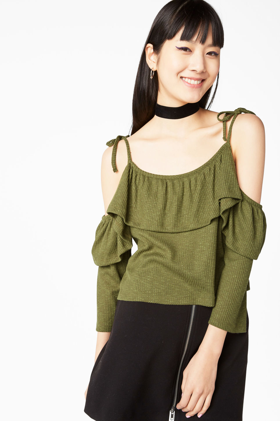 Model front image of Monki exposed shoulder cropped top in green
