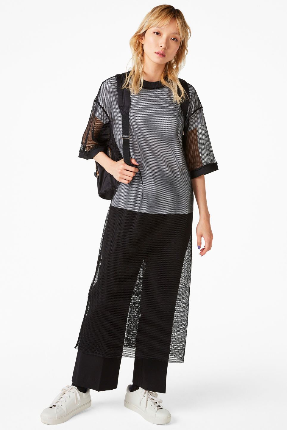 Model front image of Monki mesh long dress in black