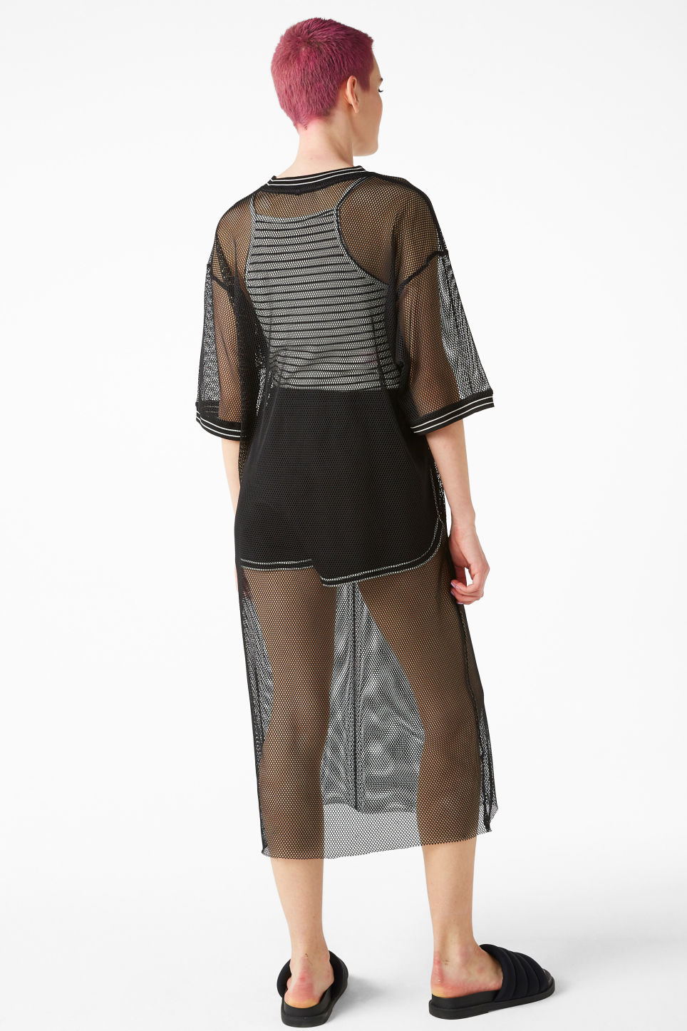 Model back image of Monki mesh long dress in black