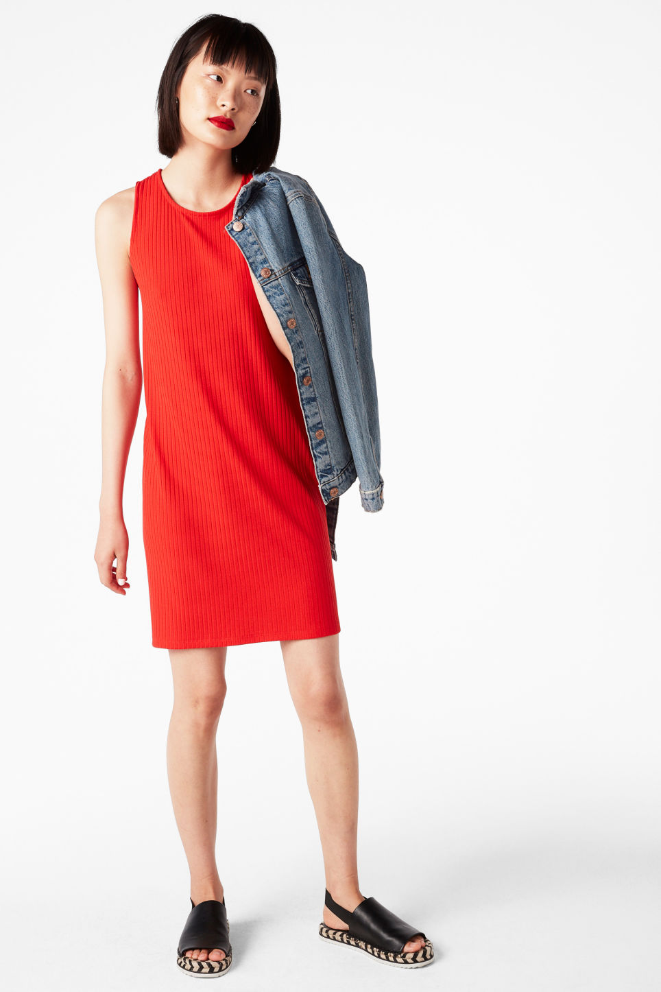 Model front image of Monki sleeveless dress with cross back in red