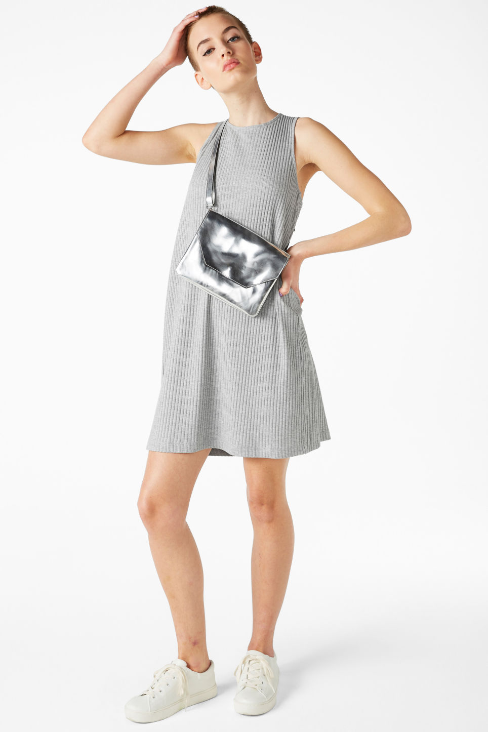 Model front image of Monki sleeveless dress with cross back in grey