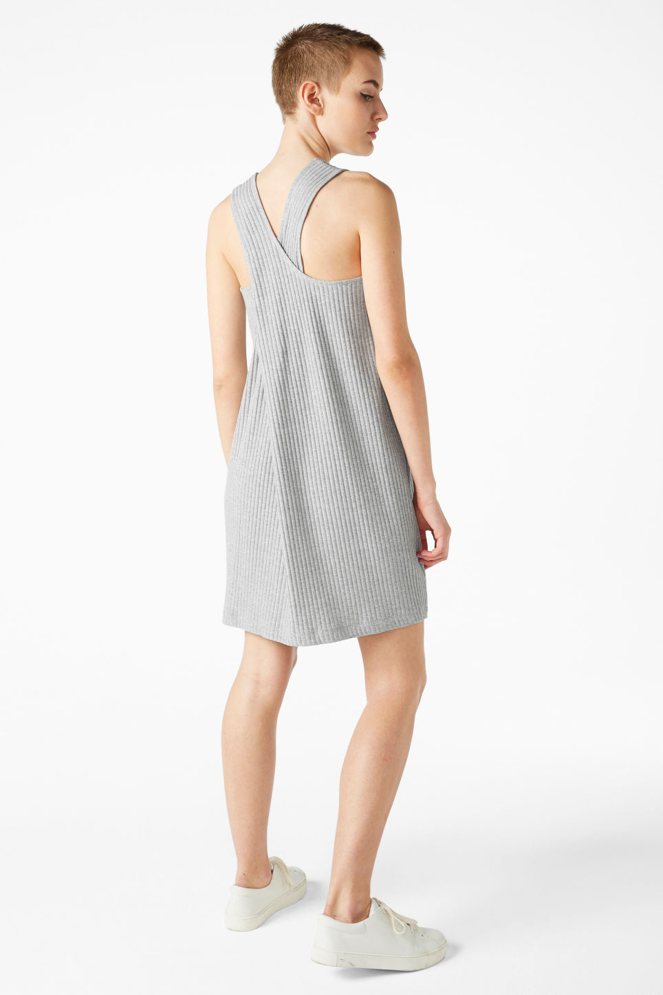 Model back image of Monki sleeveless dress with cross back in grey