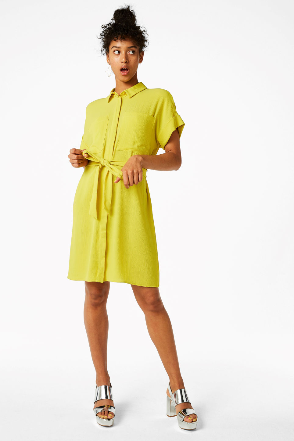 Model front image of Monki tunic shirt dress in yellow