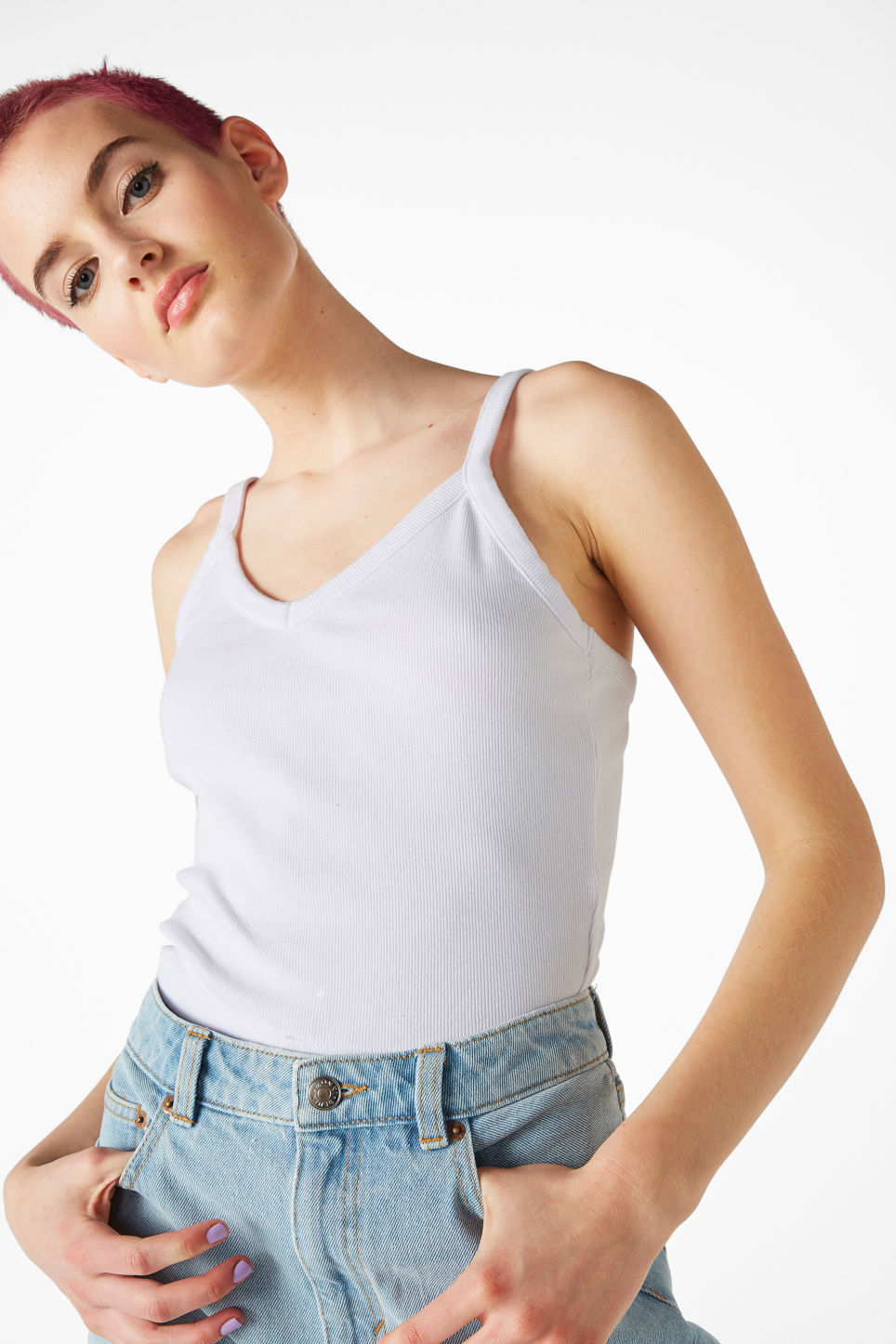 Model front image of Monki cropped singlet in white