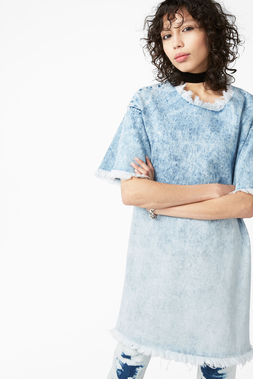 Model front image of Monki frayed denim dress in blue