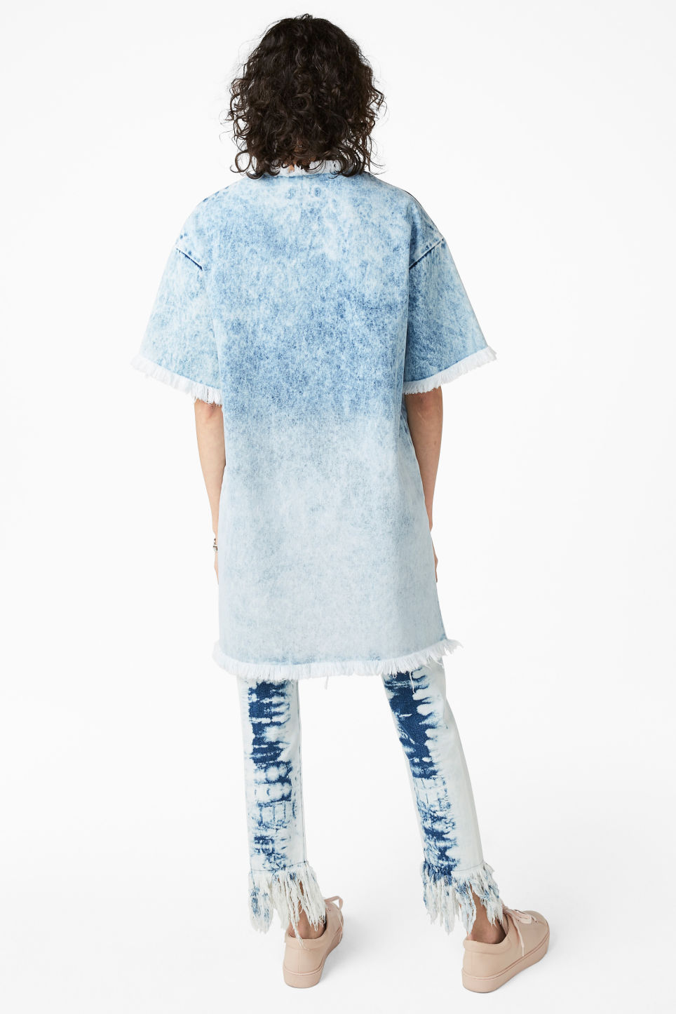 Model back image of Monki frayed denim dress in blue