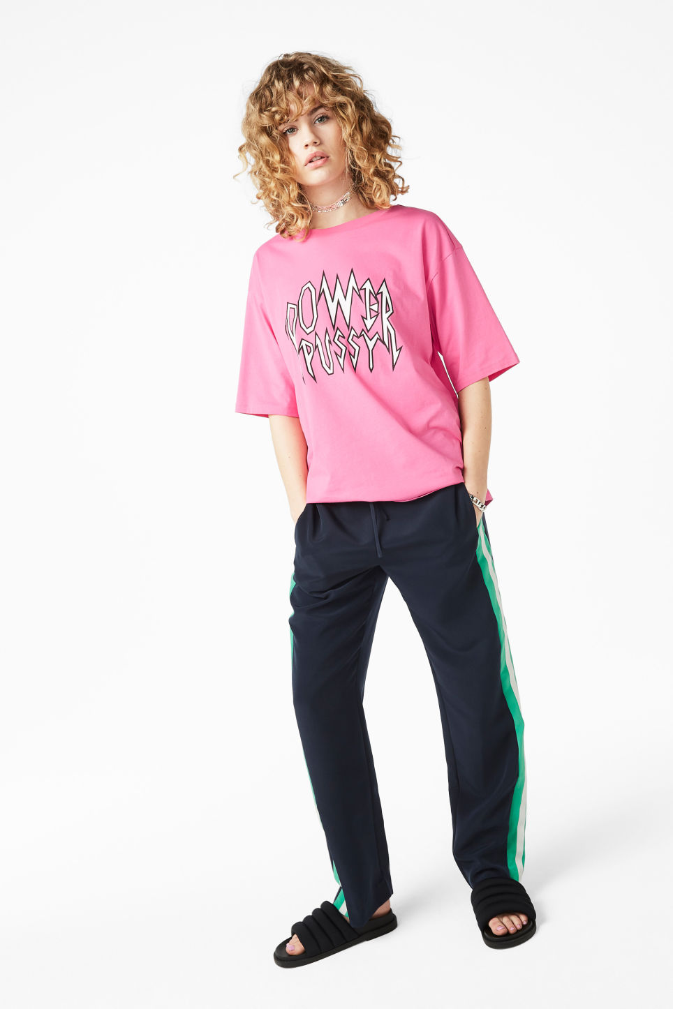 Model front image of Monki statement top in pink
