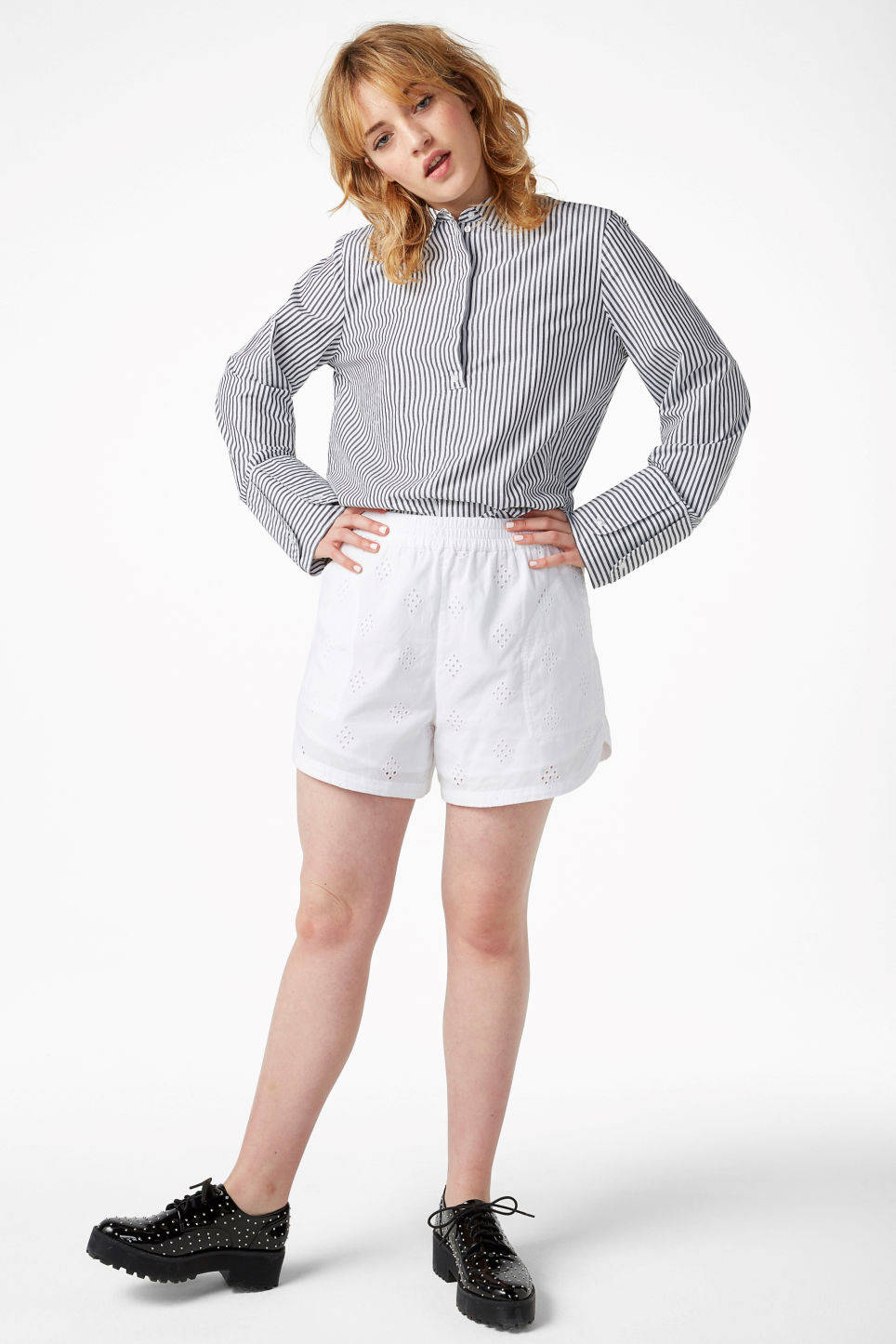Model front image of Monki soft cotton shorts in white