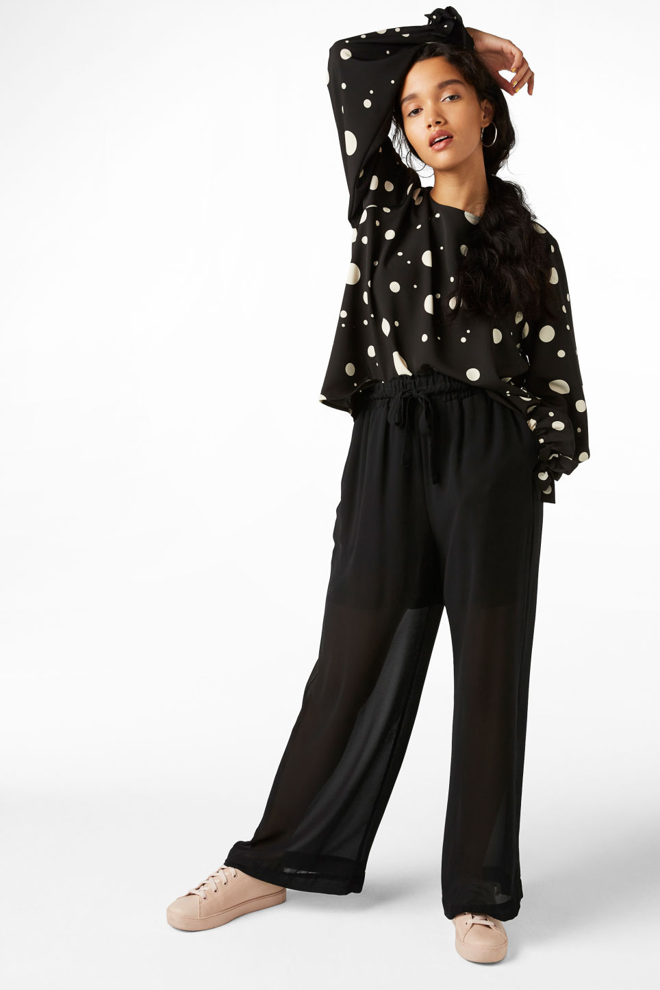Model front image of Monki semi-sheer palazzo pants in black