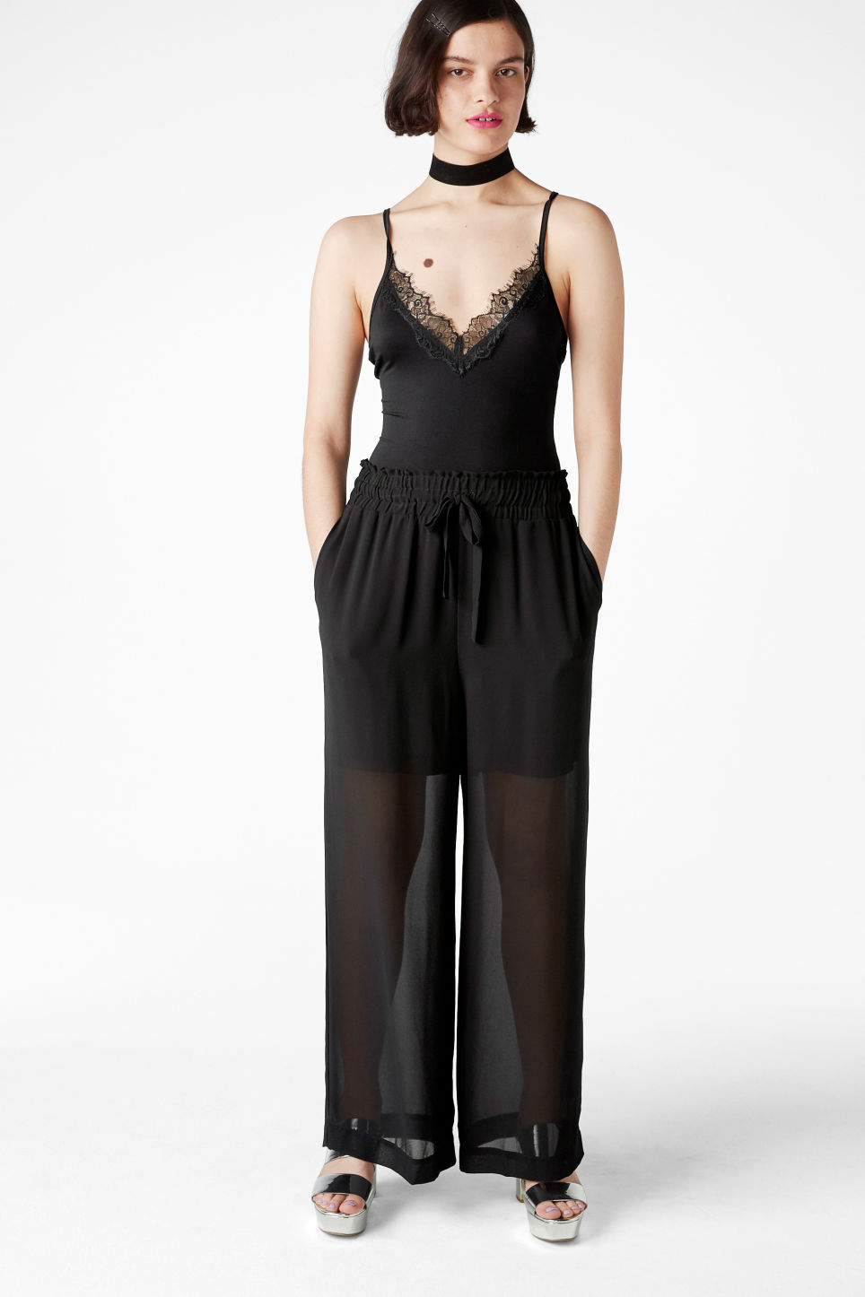 Model front image of Monki lace body in black