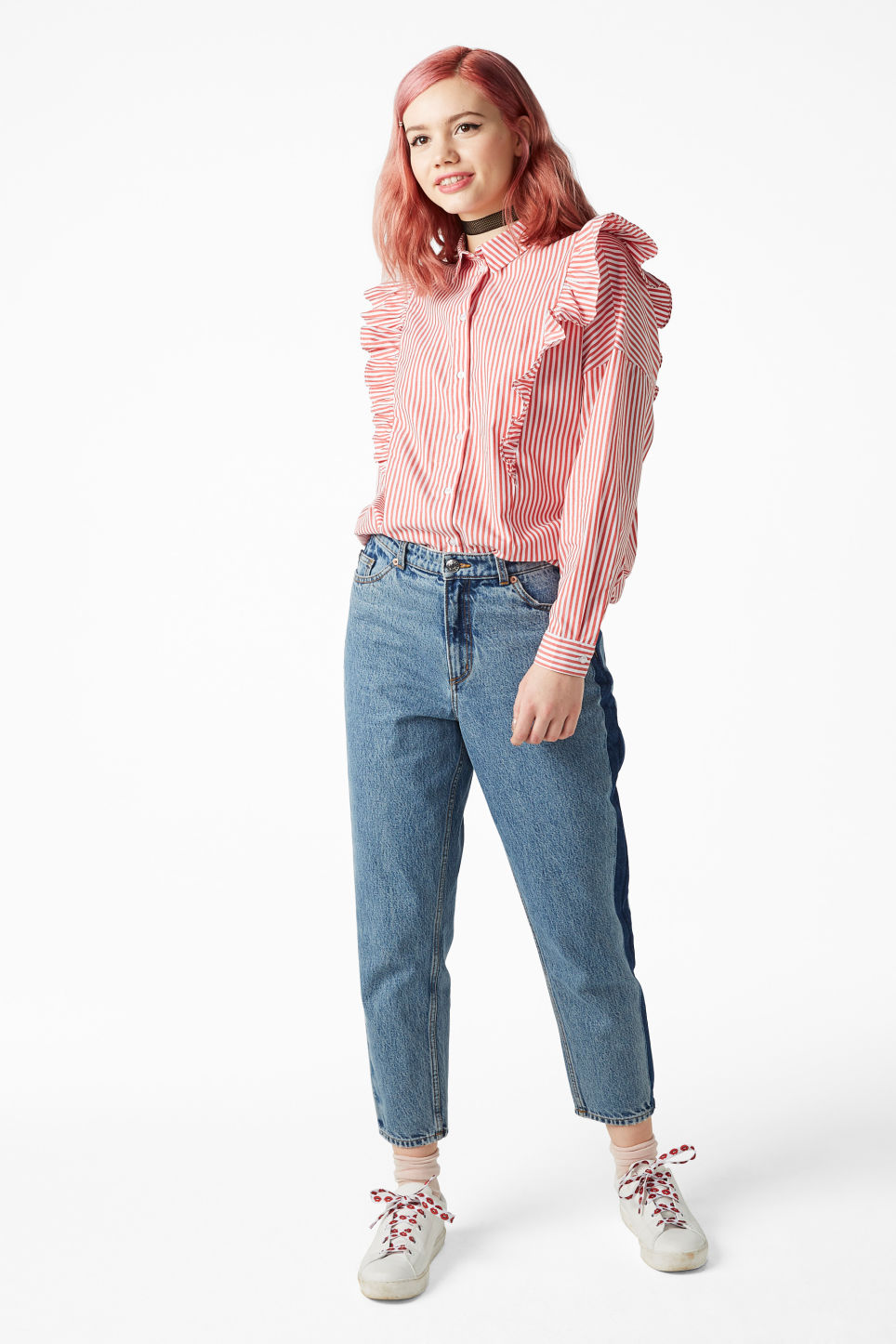 Model front image of Monki ruffle button up shirt in orange