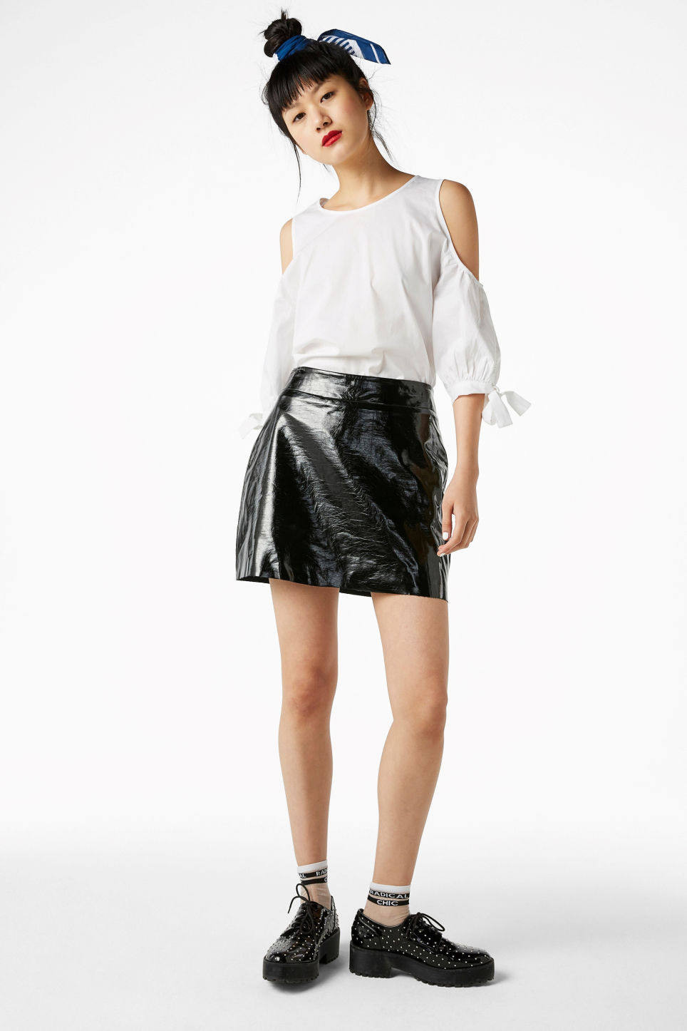Model front image of Monki cold shoulder blouse in white