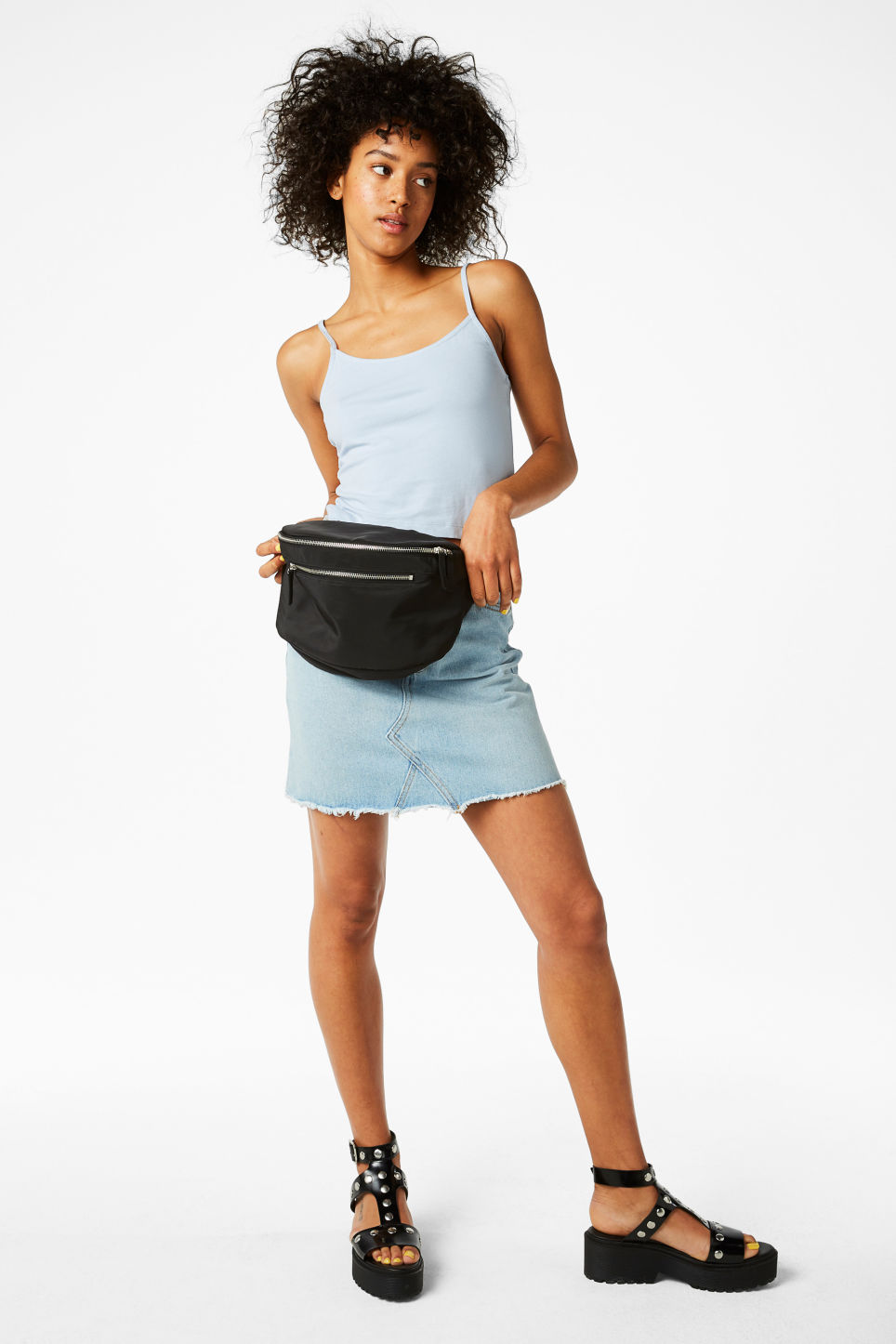 Model front image of Monki cropped singlet in blue