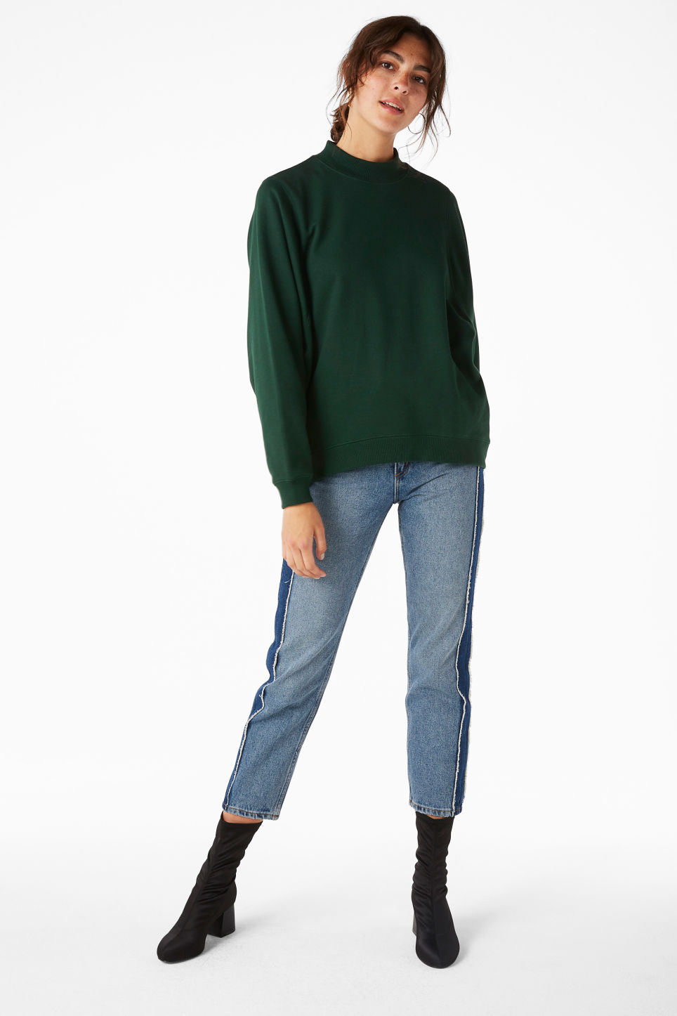 Model front image of Monki loose-fit sweater in green
