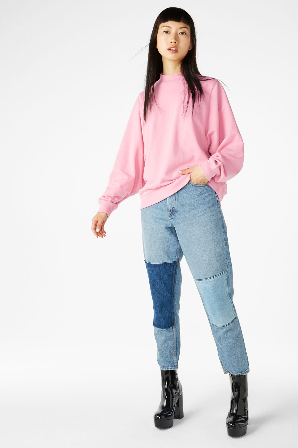 Model front image of Monki loose-fit sweater in pink