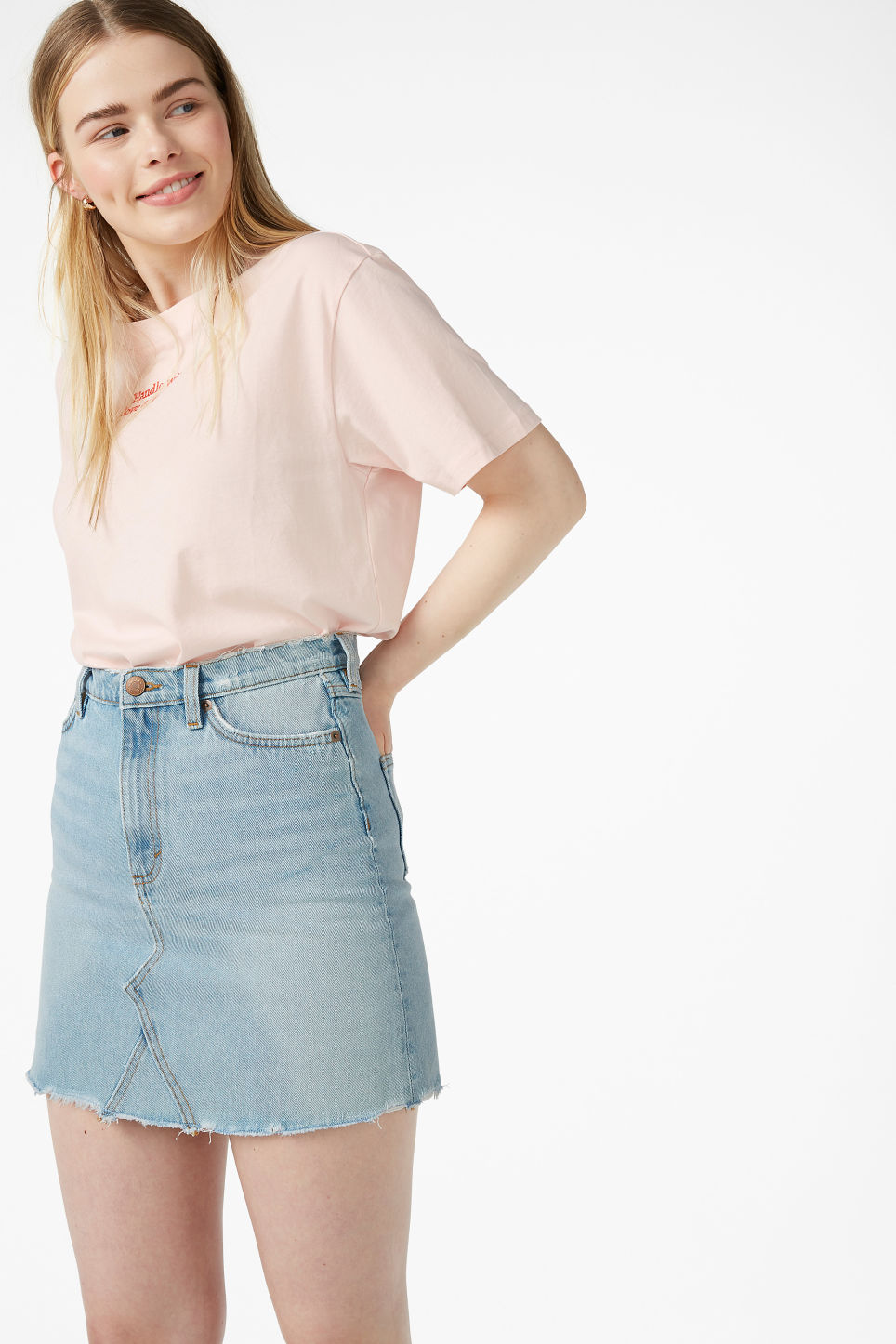 Model front image of Monki frayed hem denim skirt in blue