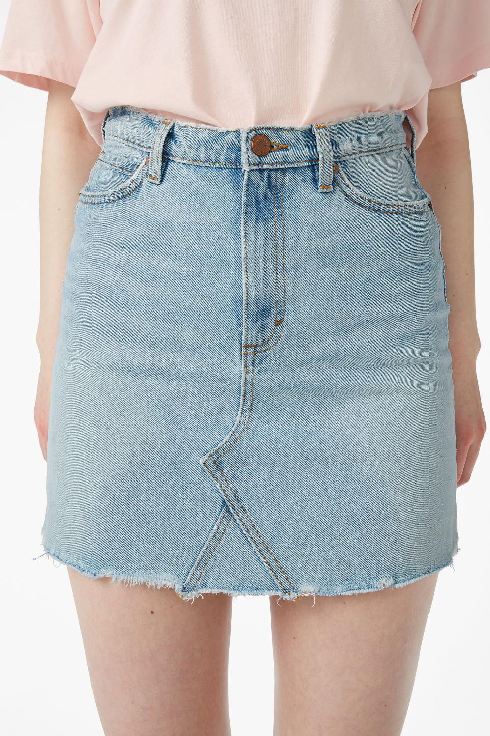 Model side image of Monki frayed hem denim skirt in blue
