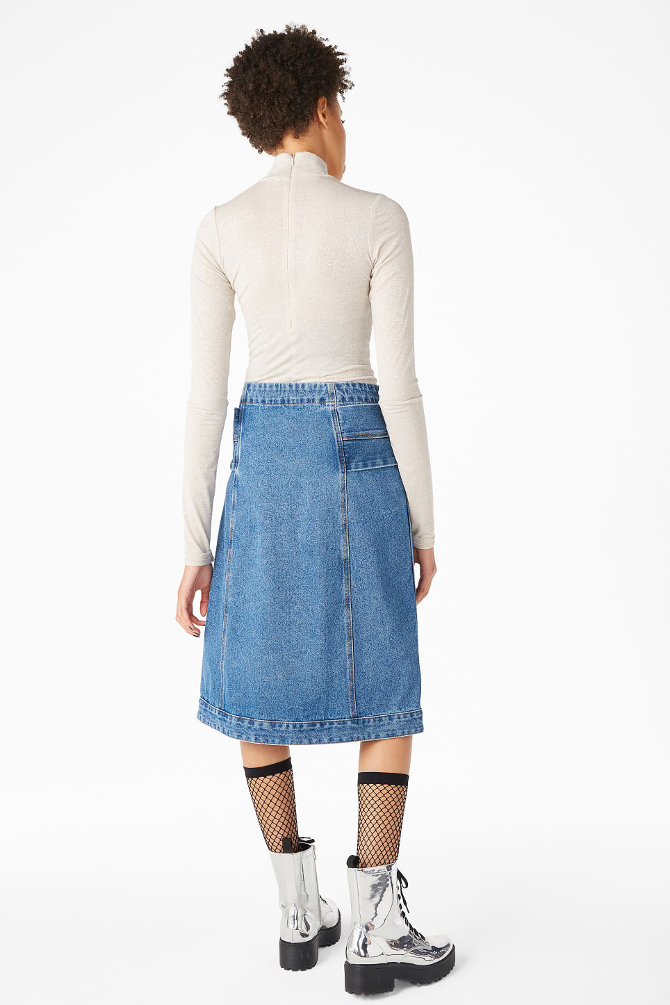 Model back image of Monki long denim skirt in blue