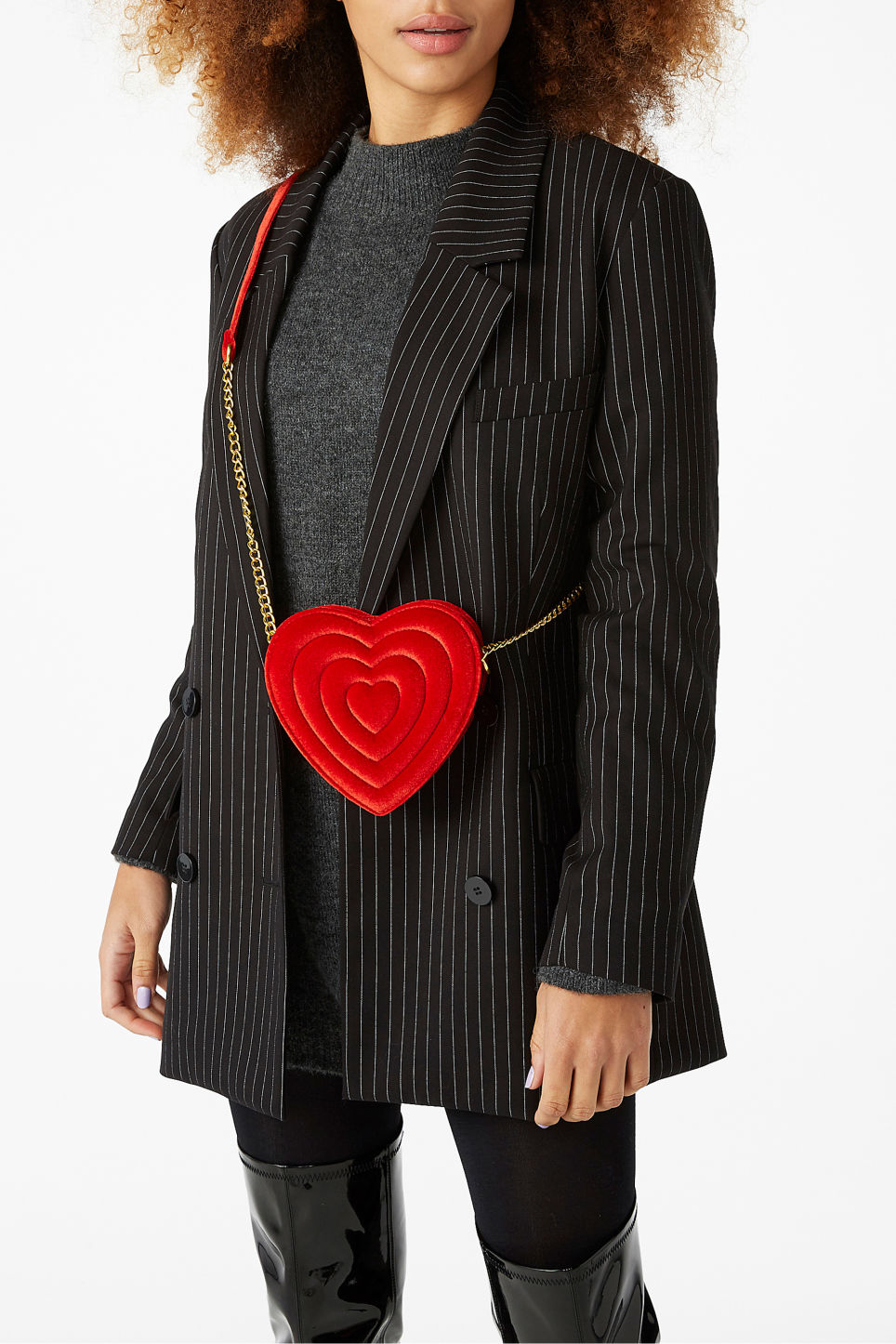 Model side image of Monki heart bag  in red