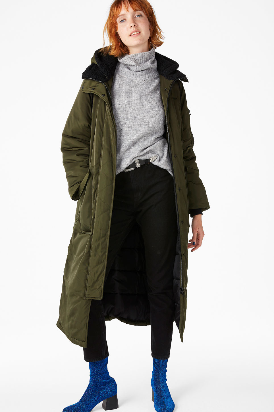 Model front image of Monki oversized parka coat in green