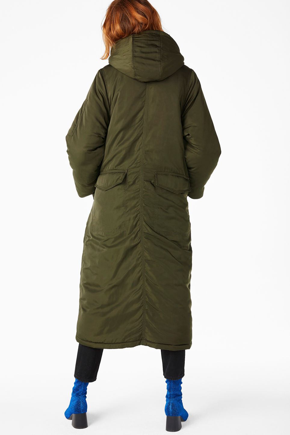 Model back image of Monki oversized parka coat in green
