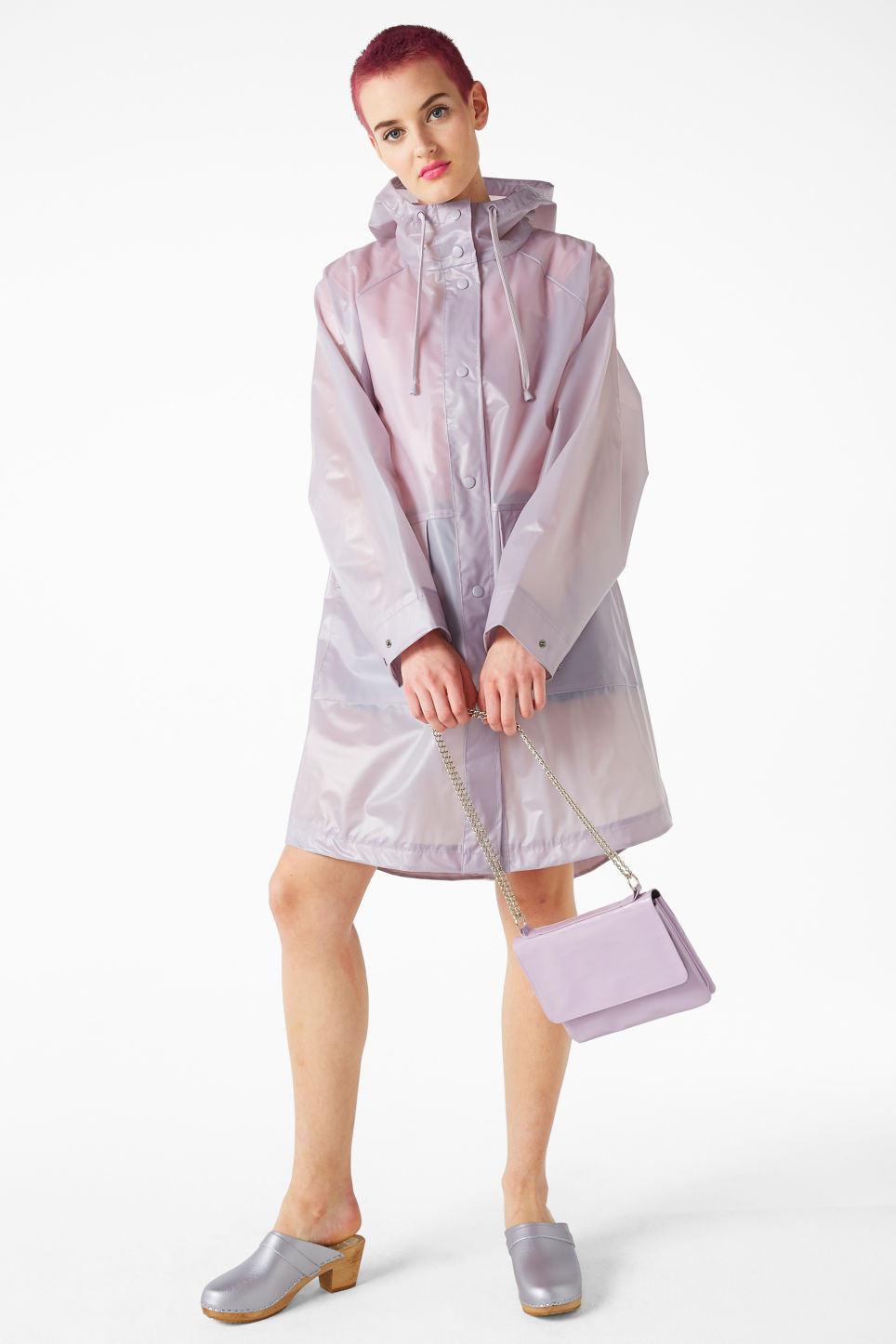 Model front image of Monki hooded raincoat in purple