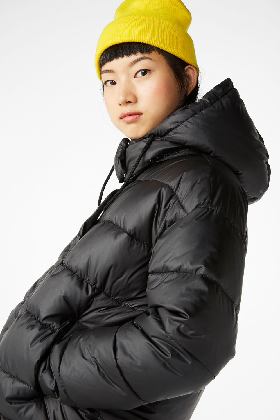 Model front image of Monki hooded puffer jacket in black