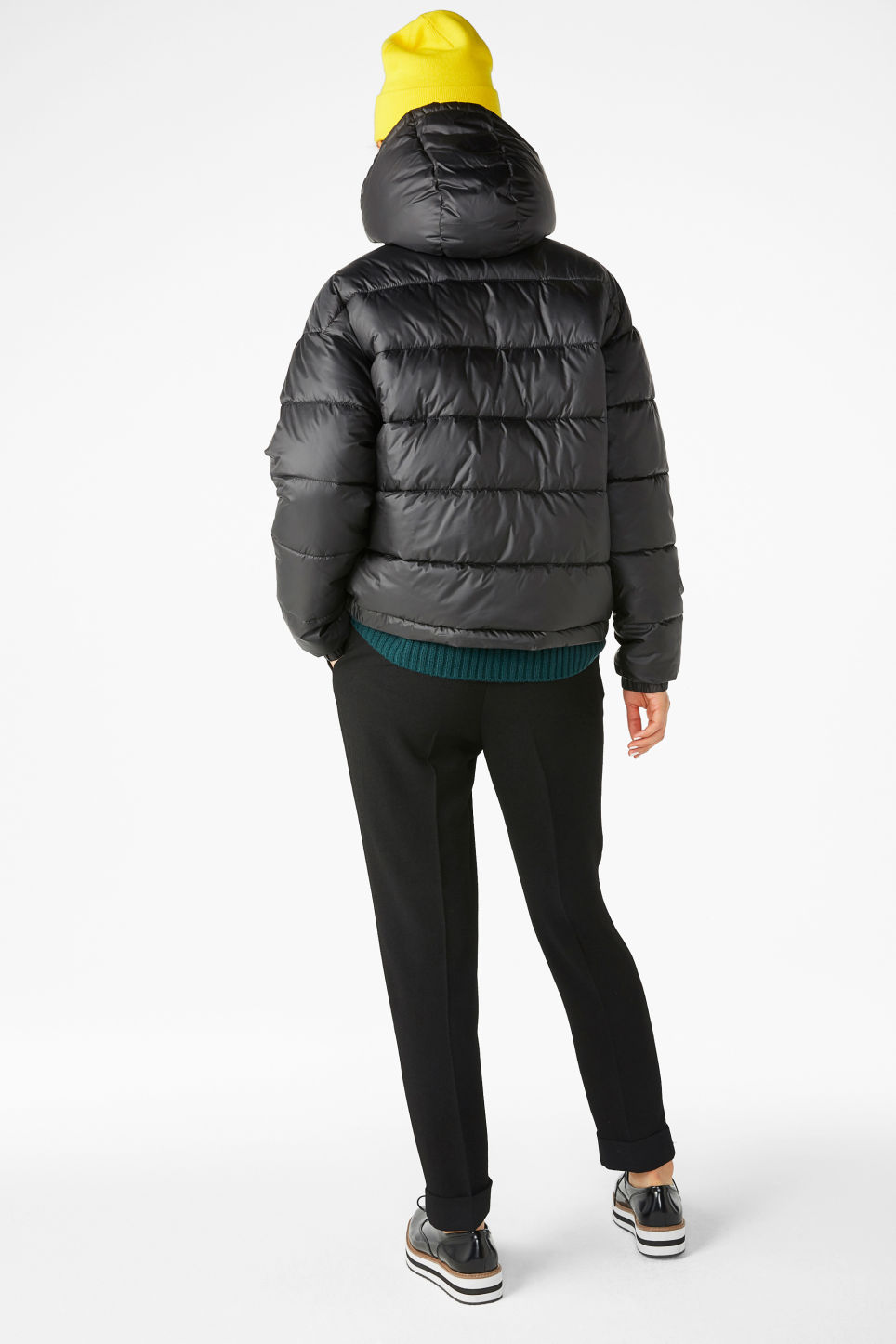 Model back image of Monki hooded puffer jacket in black