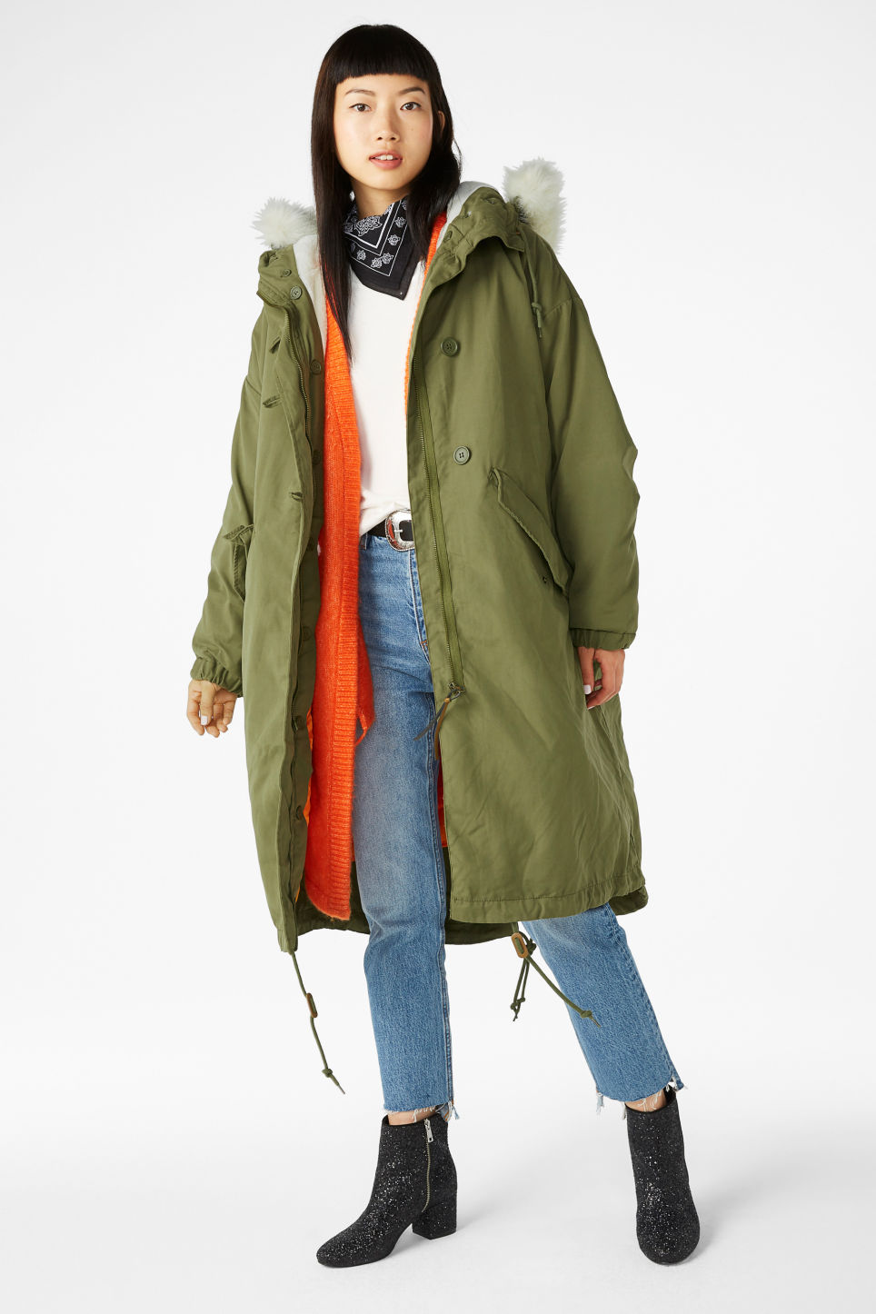 Model front image of Monki hooded coat with detachable lining in green