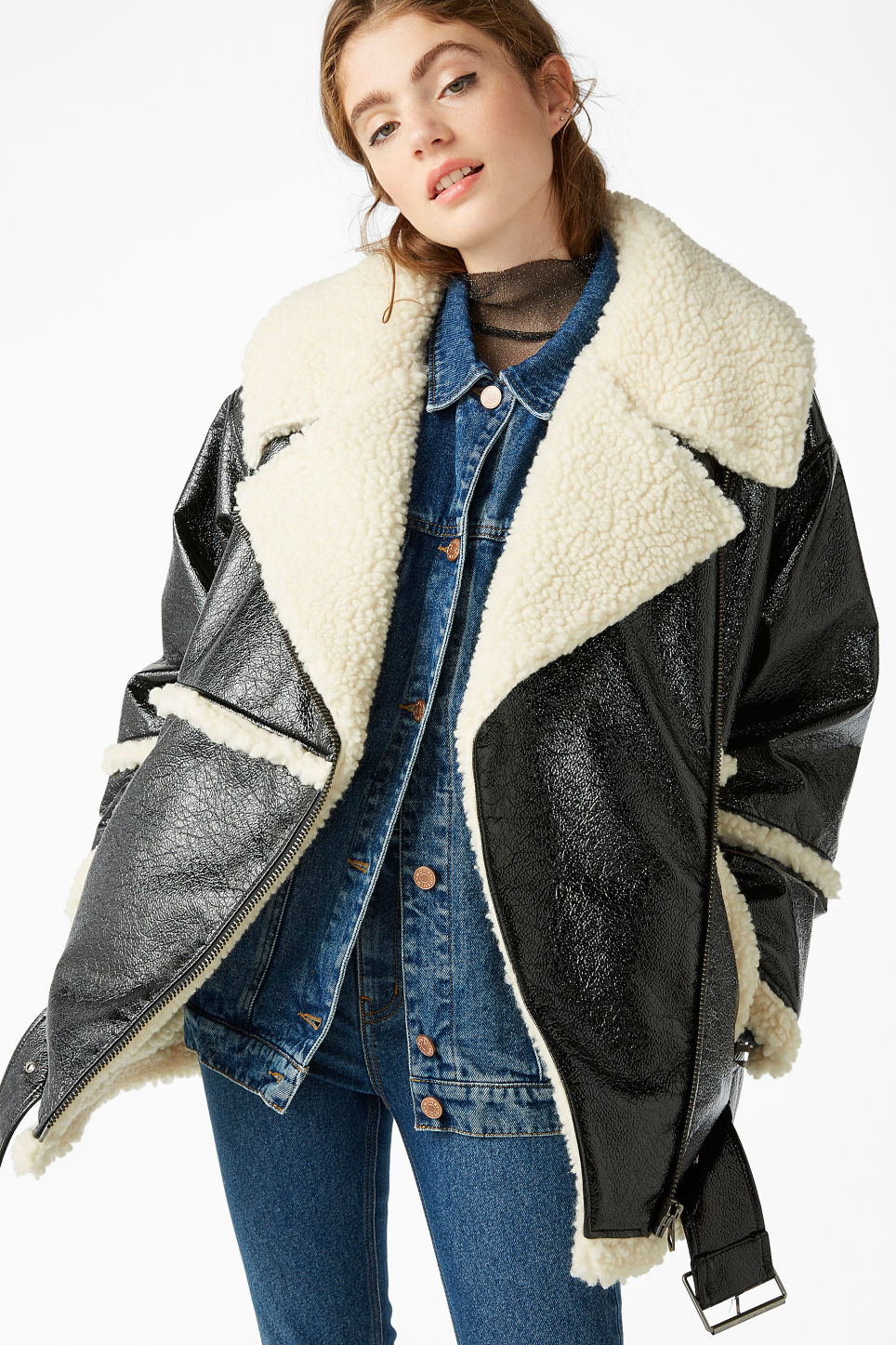 Model front image of Monki statement aviator jacket in black