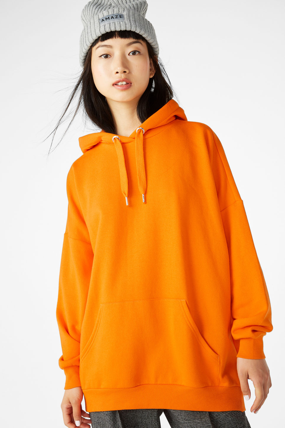 Model front image of Monki oversized hoodie in orange