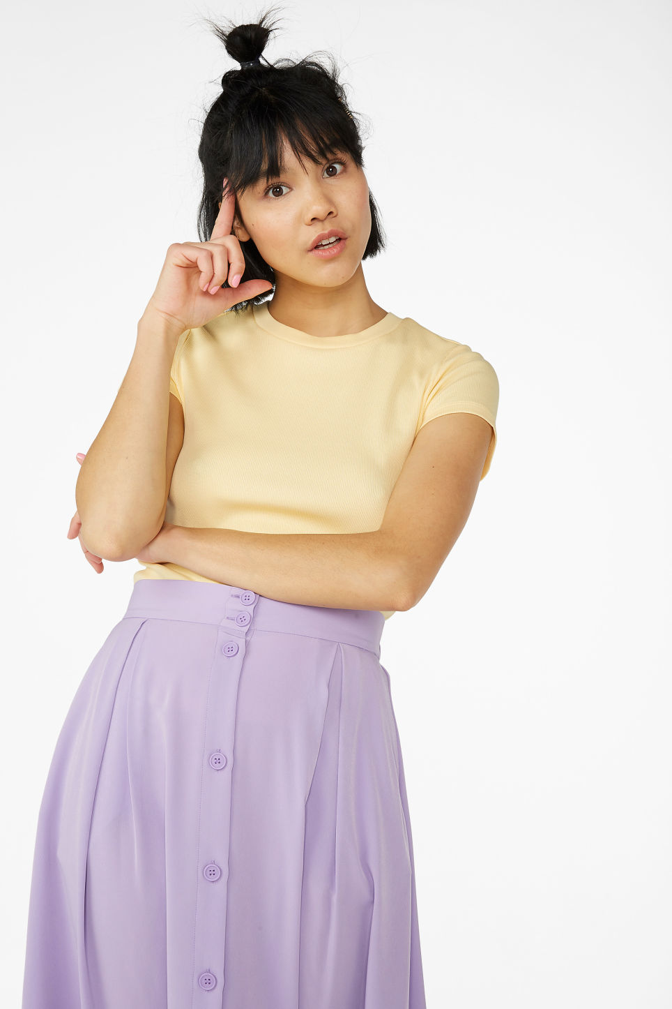 Model front image of Monki stretchy tee in yellow