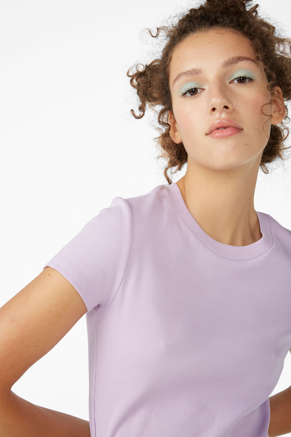 Model front image of Monki ribbed tee in purple