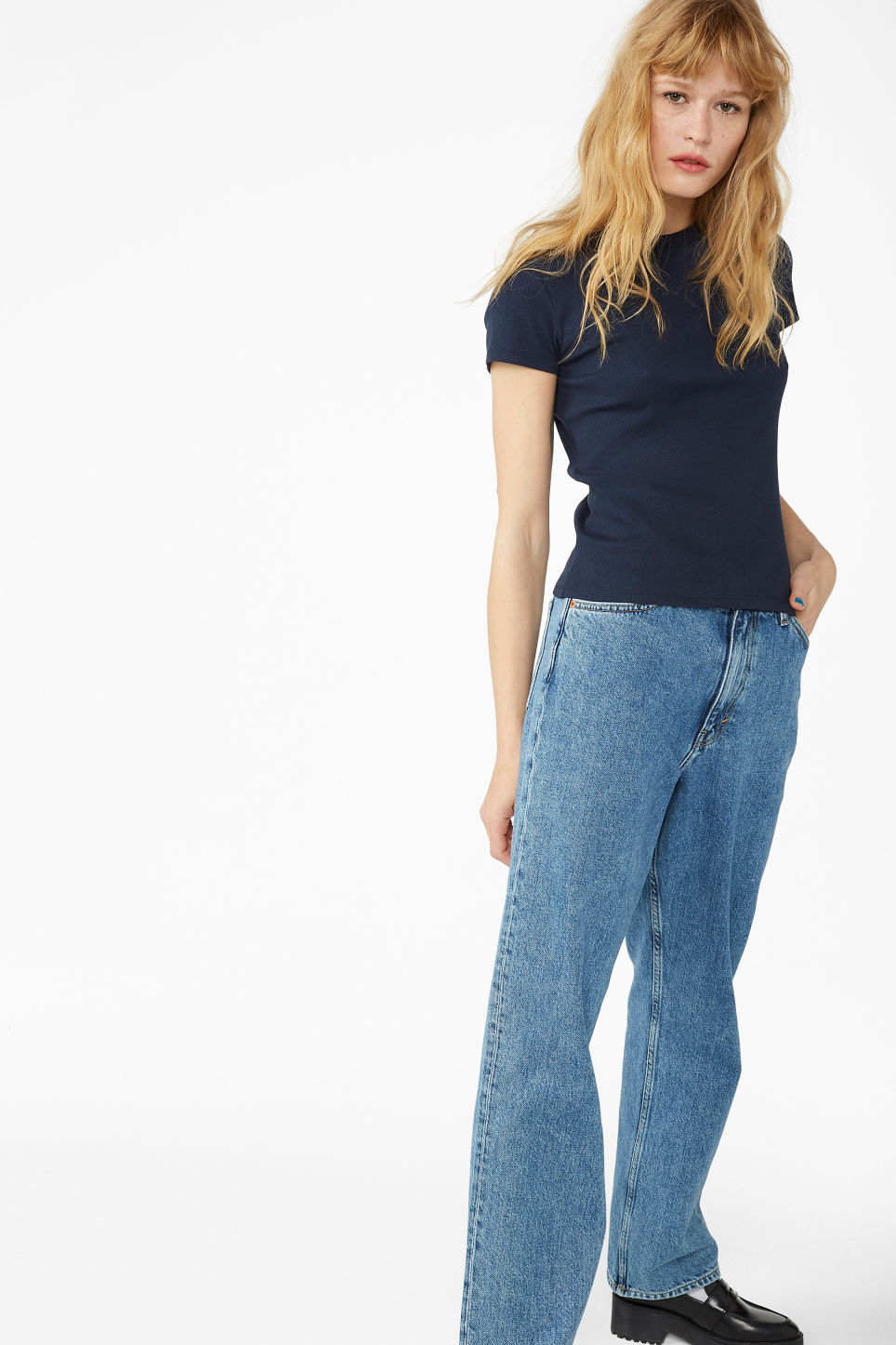 Model side image of Monki ribbed tee in blue
