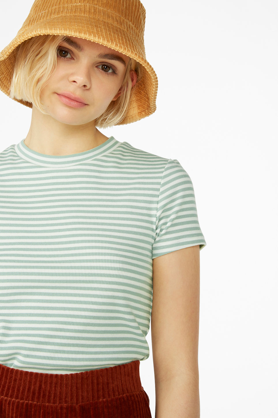 Model front image of Monki ribbed tee in green