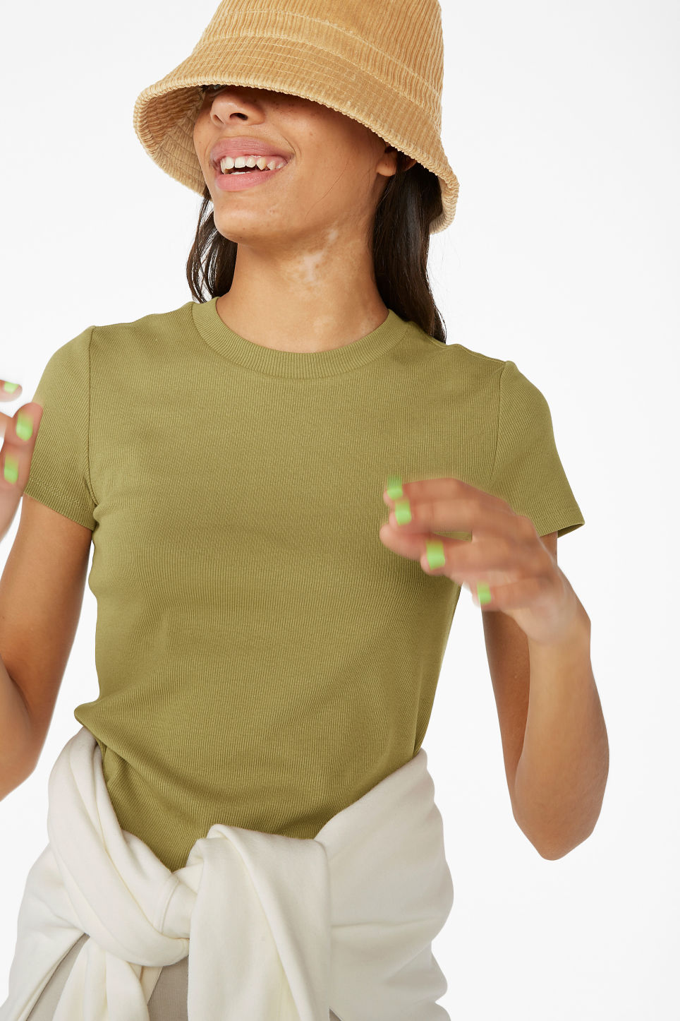 Model front image of Monki ribbed tee in beige