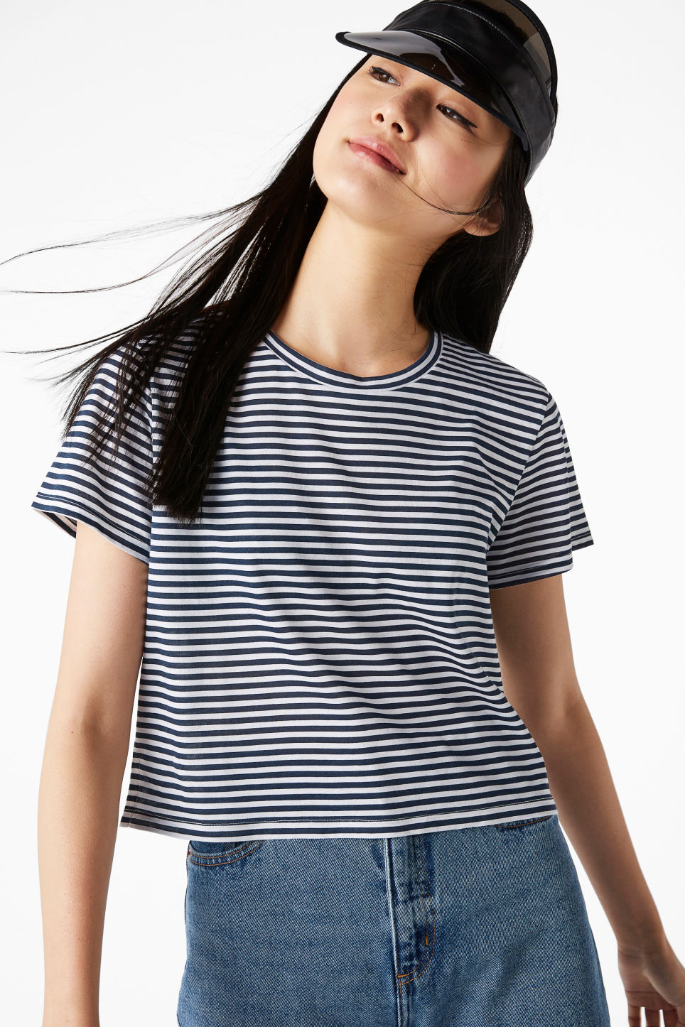 Model front image of Monki cropped tee in blue