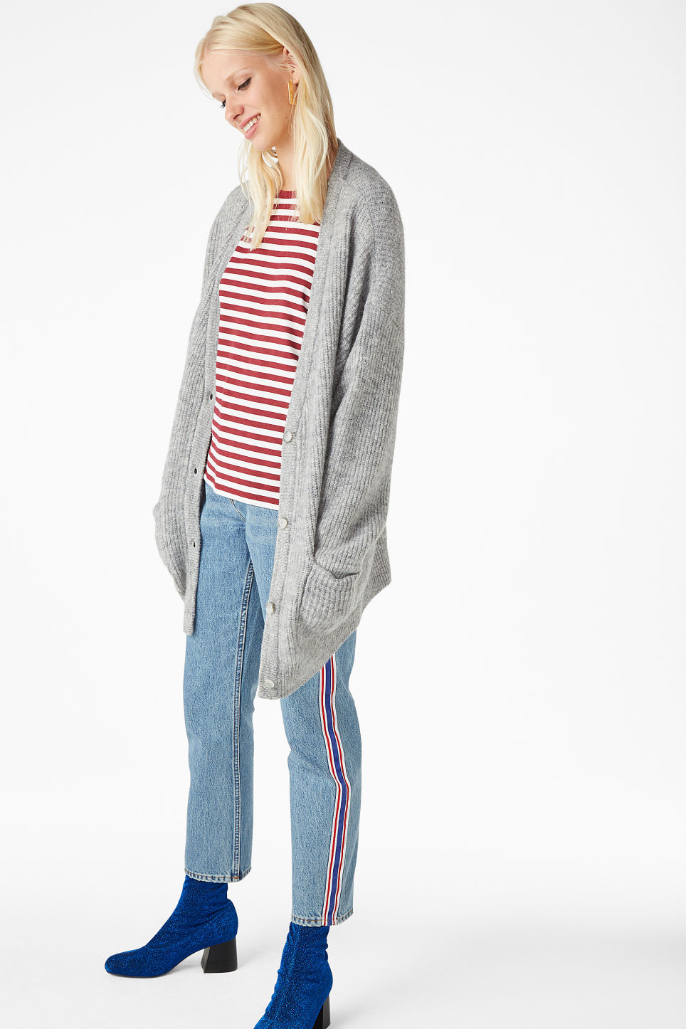 Model side image of Monki oversize cardigan in grey