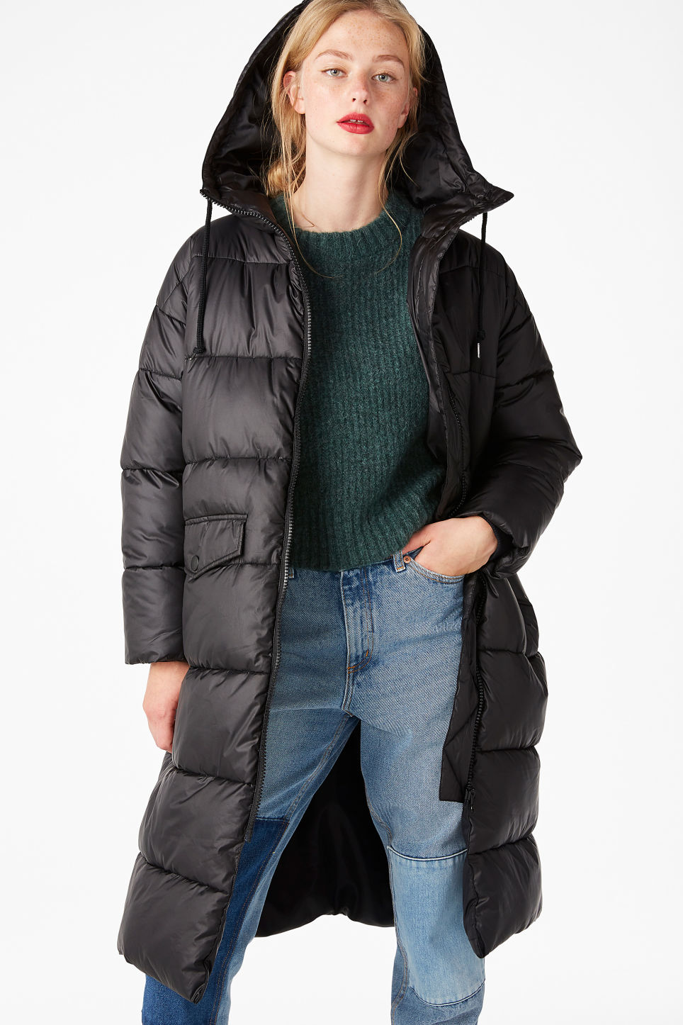 Model front image of Monki oversized puffer coat in black