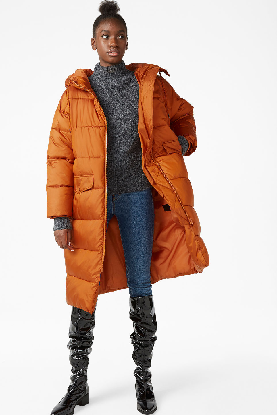 Model front image of Monki oversized puffer coat in orange