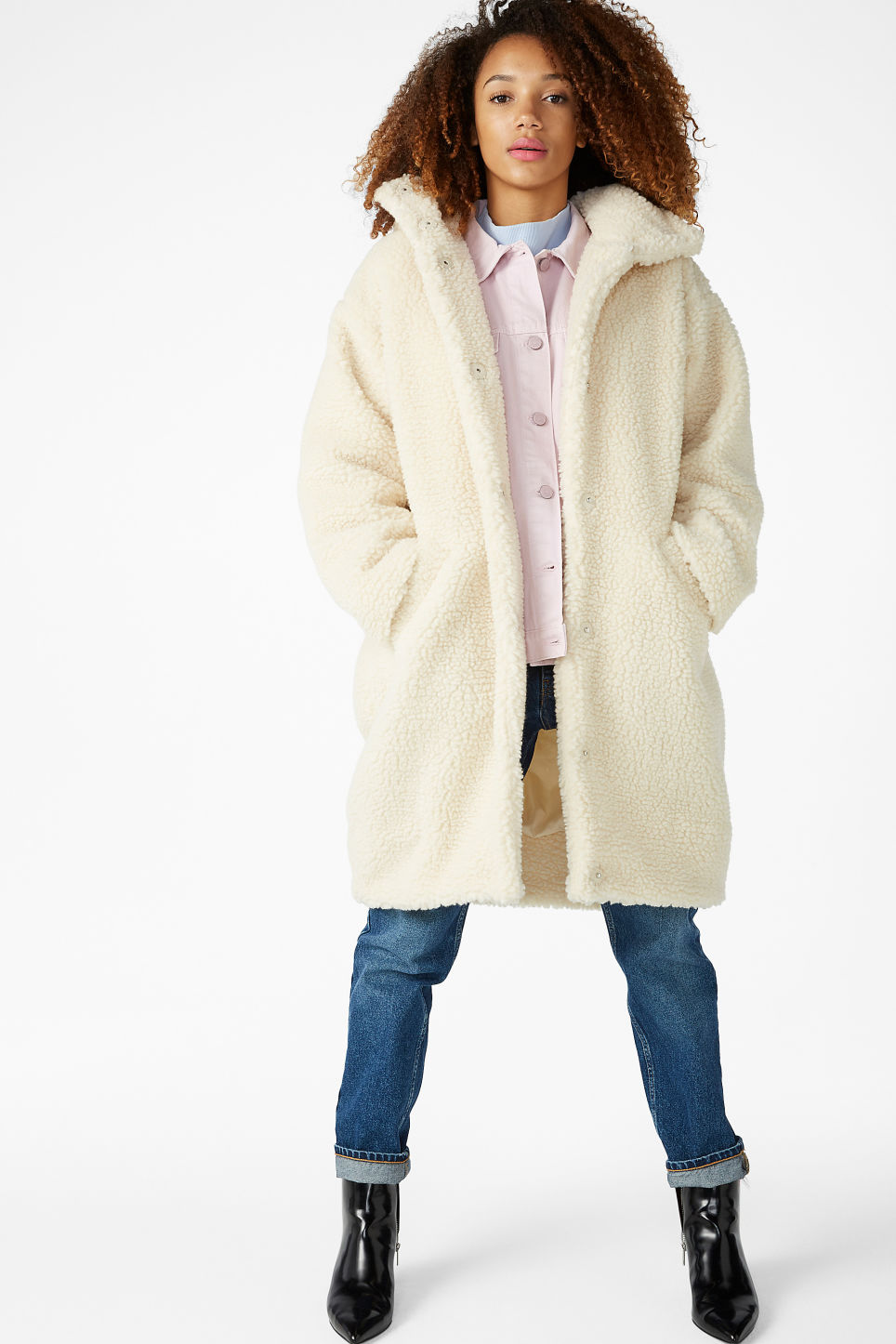 Model front image of Monki faux shearling coat in white