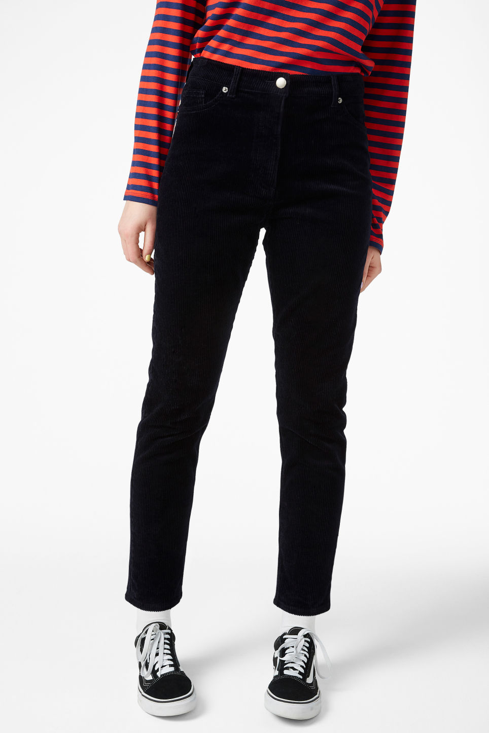 Model side image of Monki corduroy  trousers in blue