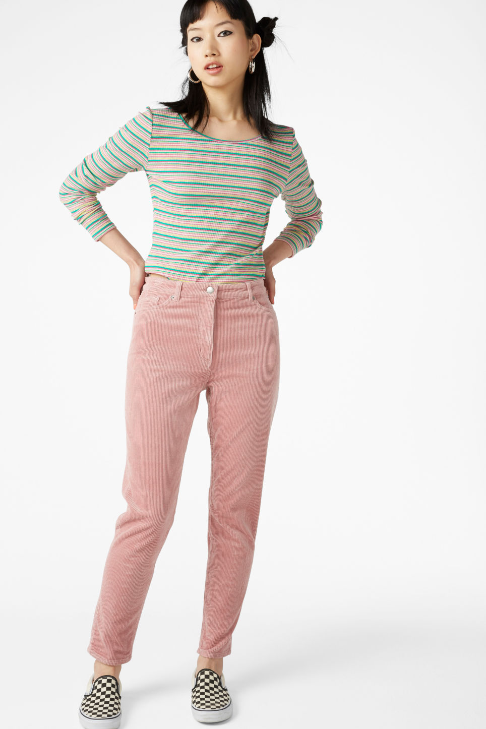 Model front image of Monki corduroy  trousers in pink