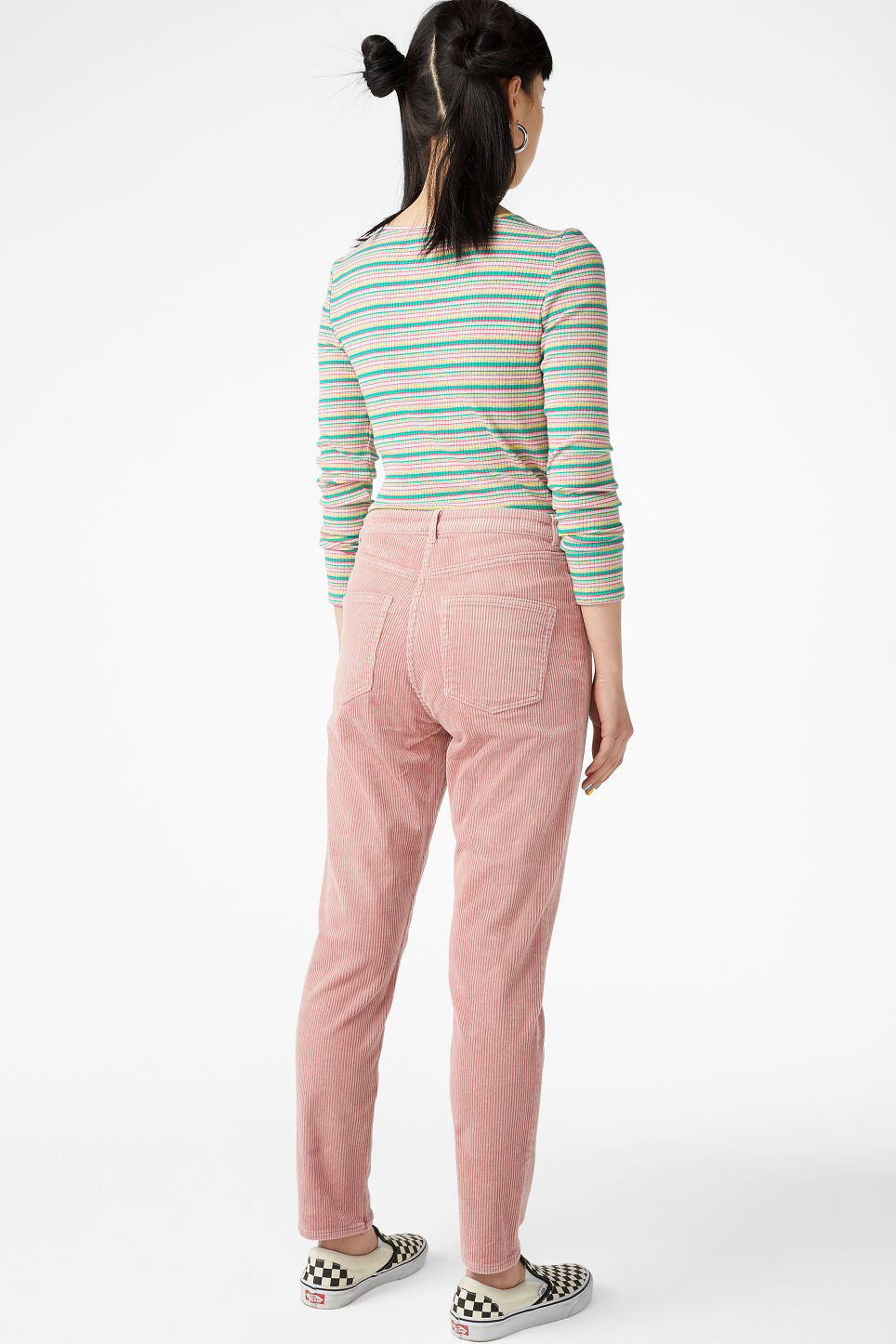 Model back image of Monki corduroy  trousers in pink