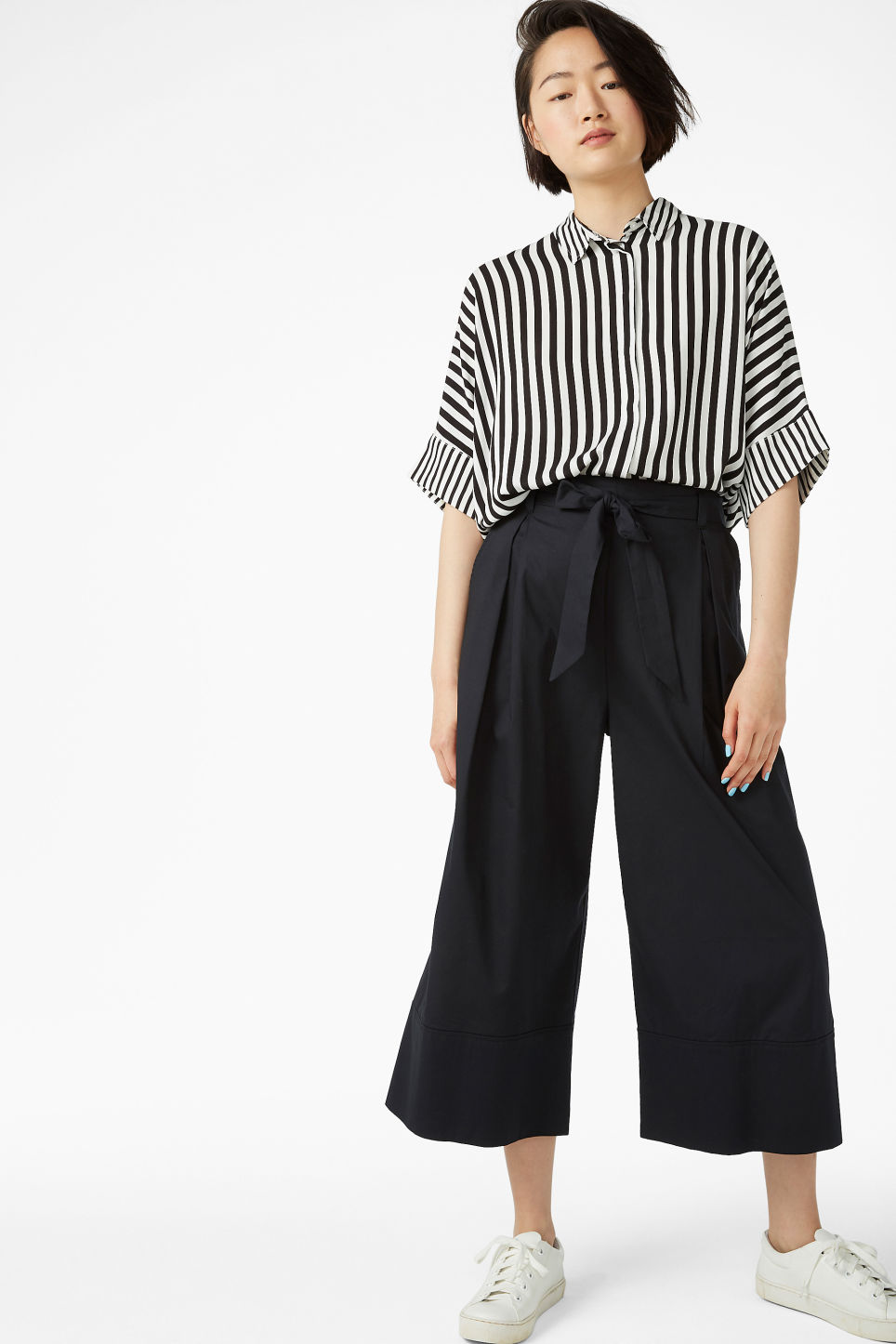 Model front image of Monki culottes with paper bag waist in black