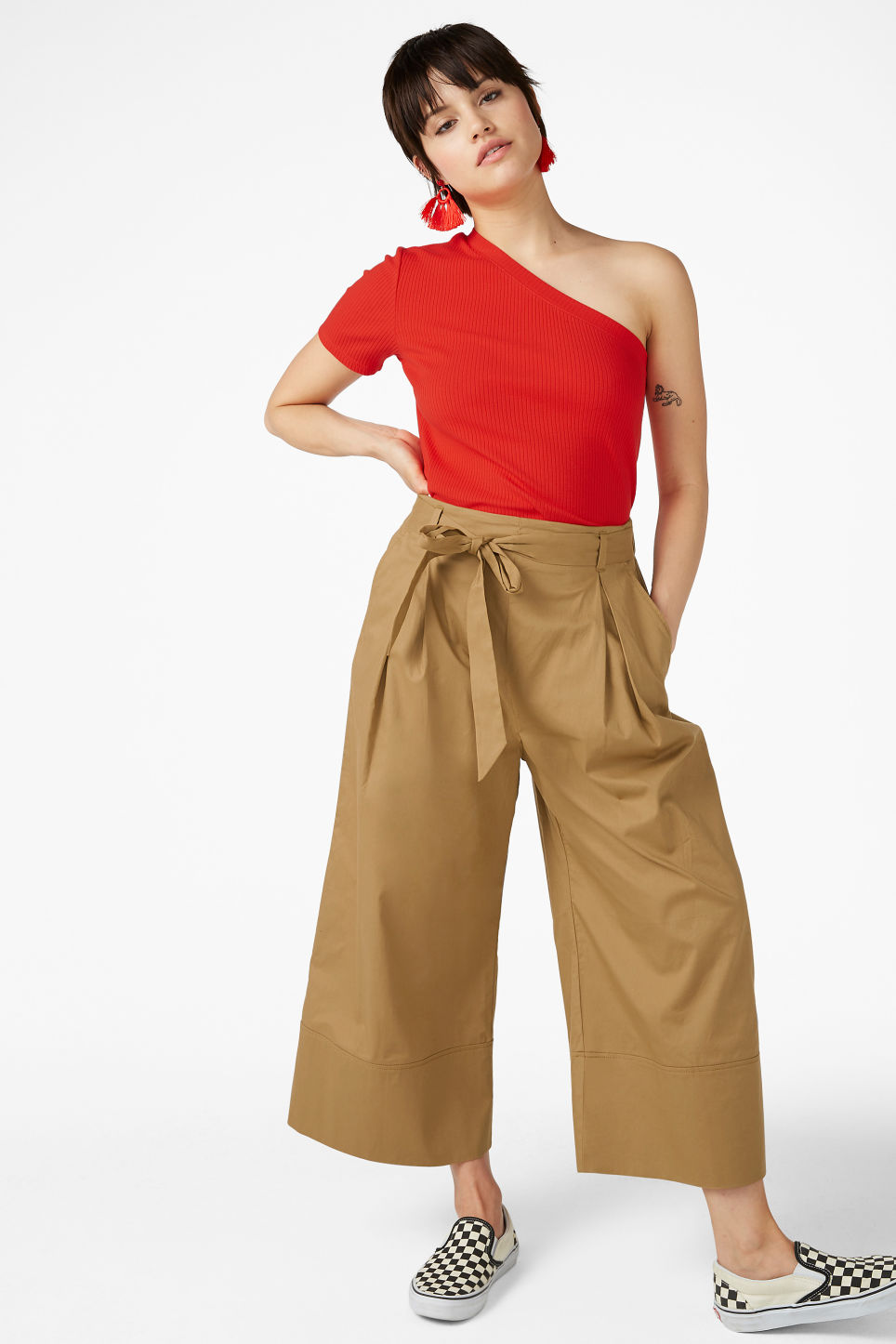 Model front image of Monki culottes with paper bag waist in beige