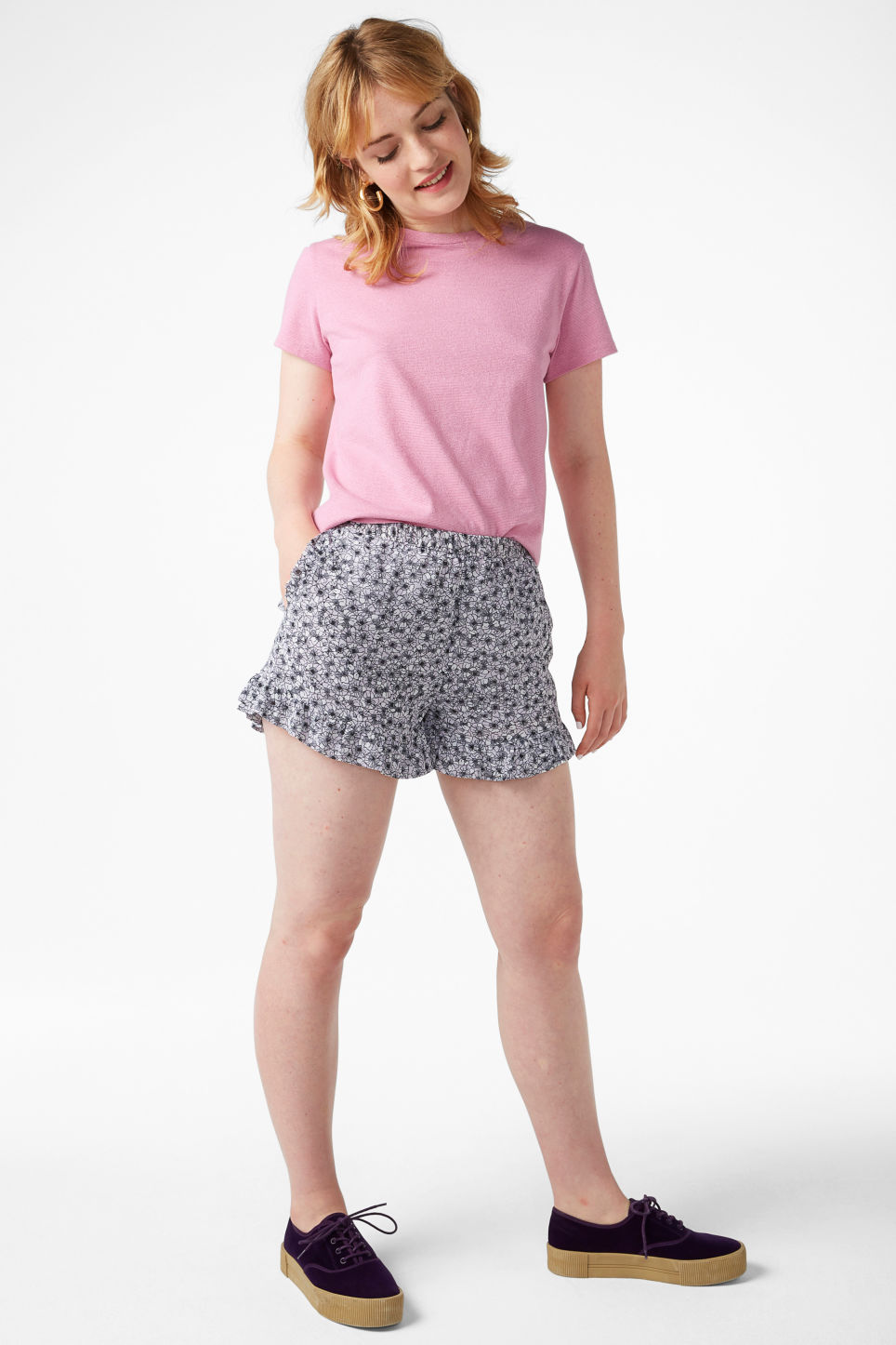 Model front image of Monki soft ruffled shorts in purple
