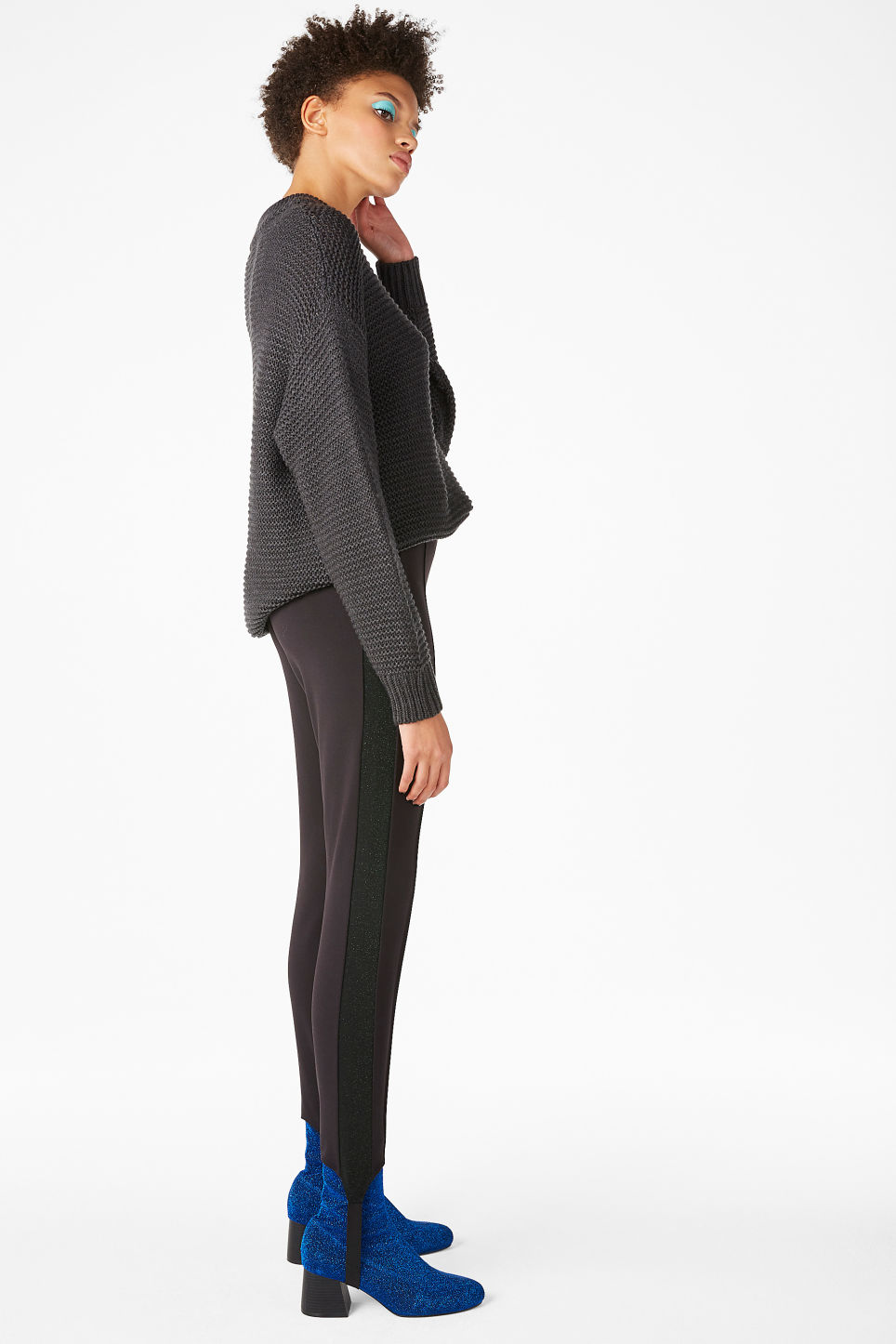 Model front image of Monki fancy leggings in black