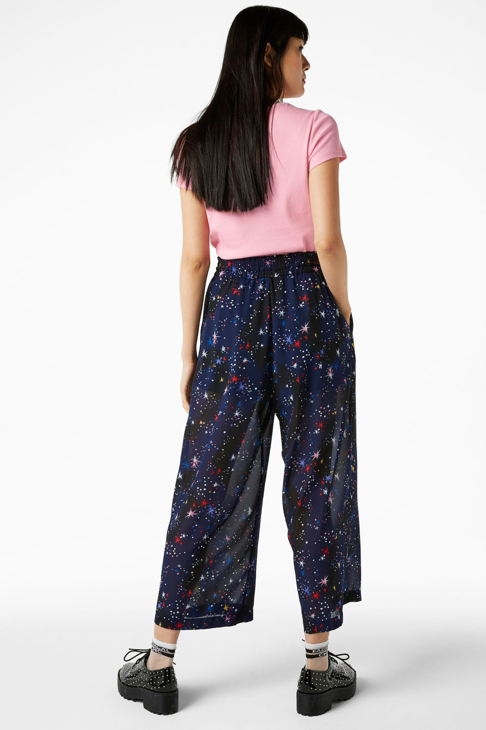 Model back image of Monki semi-sheer palazzo trousers in blue