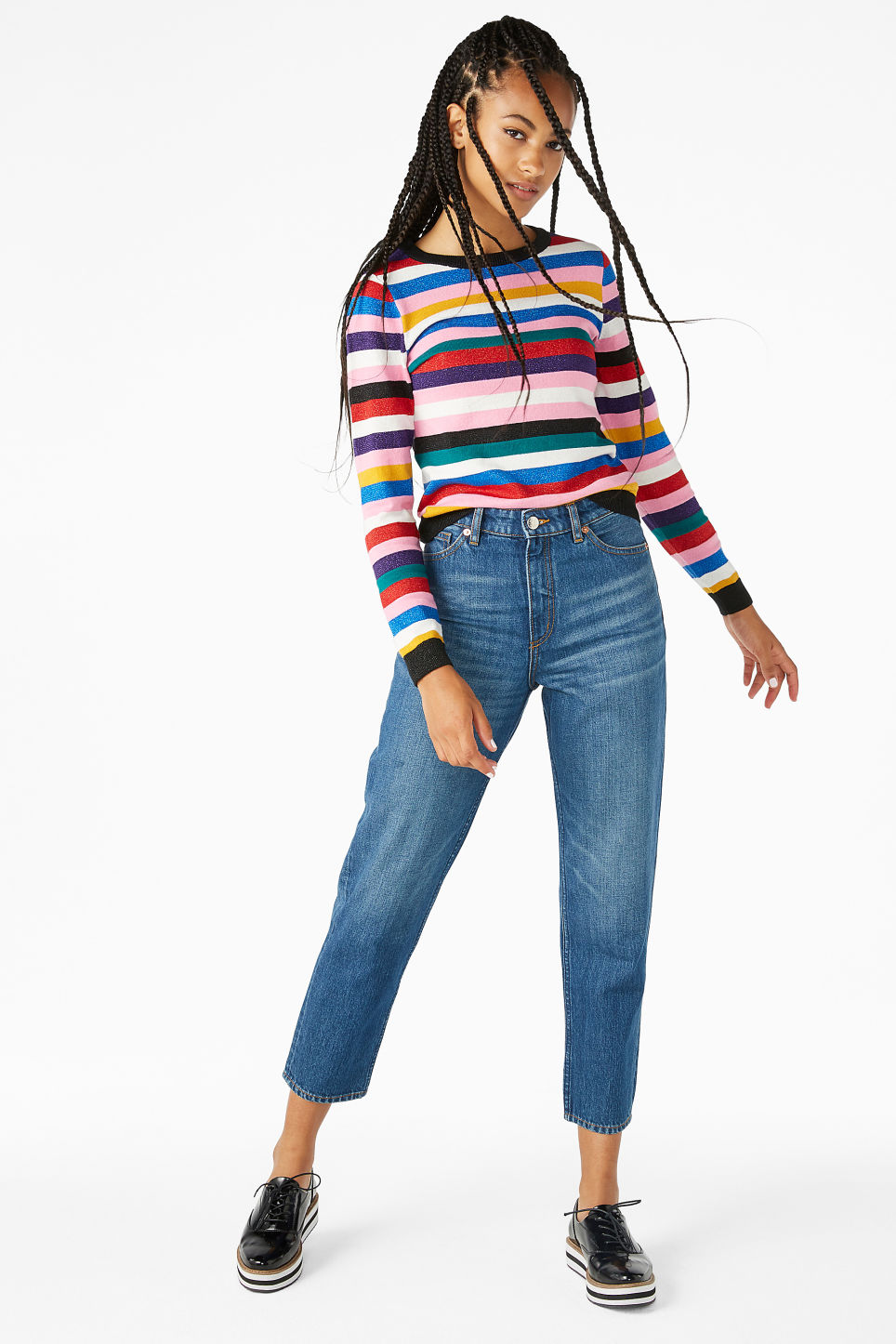 Model front image of Monki knitted long-sleeved top in pink
